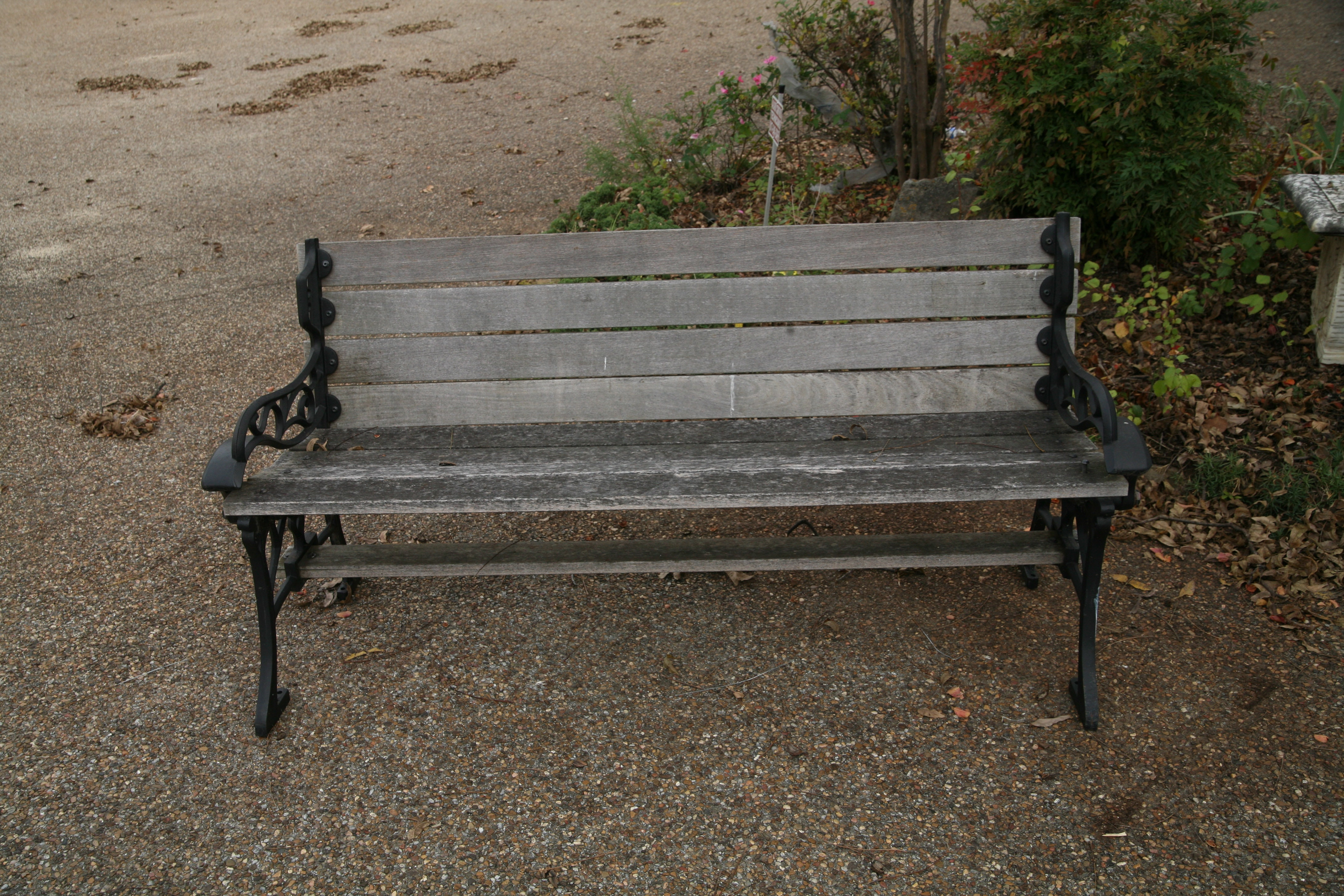Wood and Metal Outdoor Bench