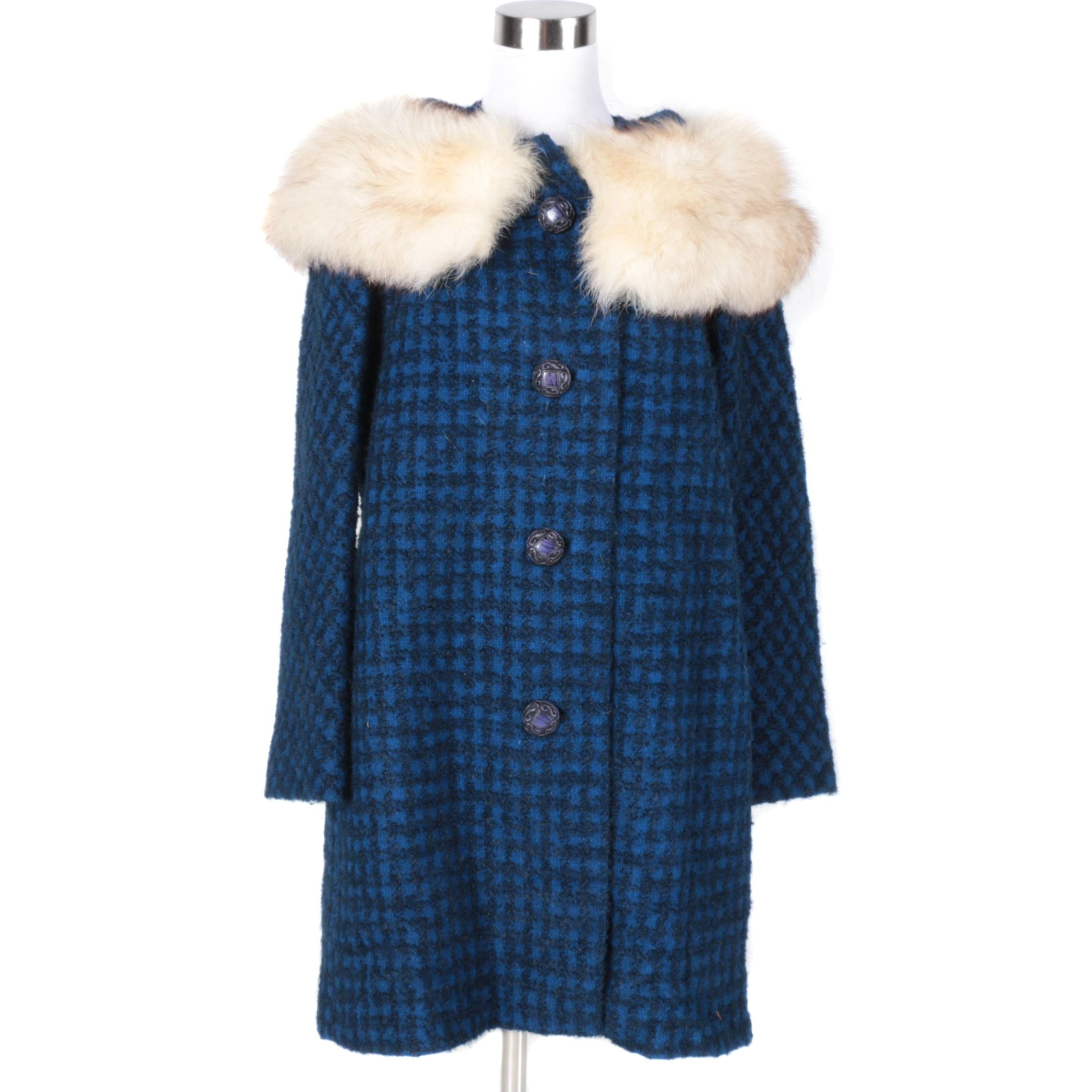 Dress Coat with Fox Fur Trim