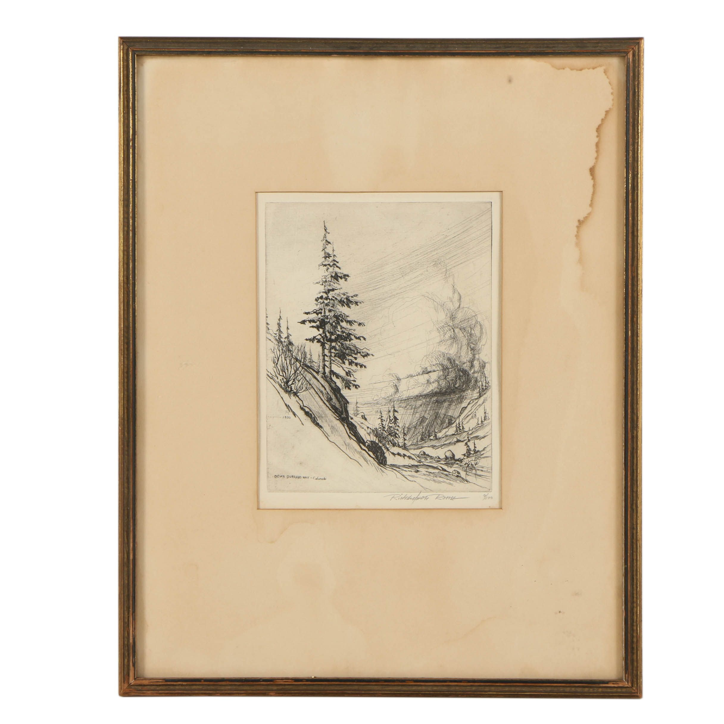 """Richardson Rome Signed Limited Edition Etching """"Down Duraugo Way- Colorado"""""""