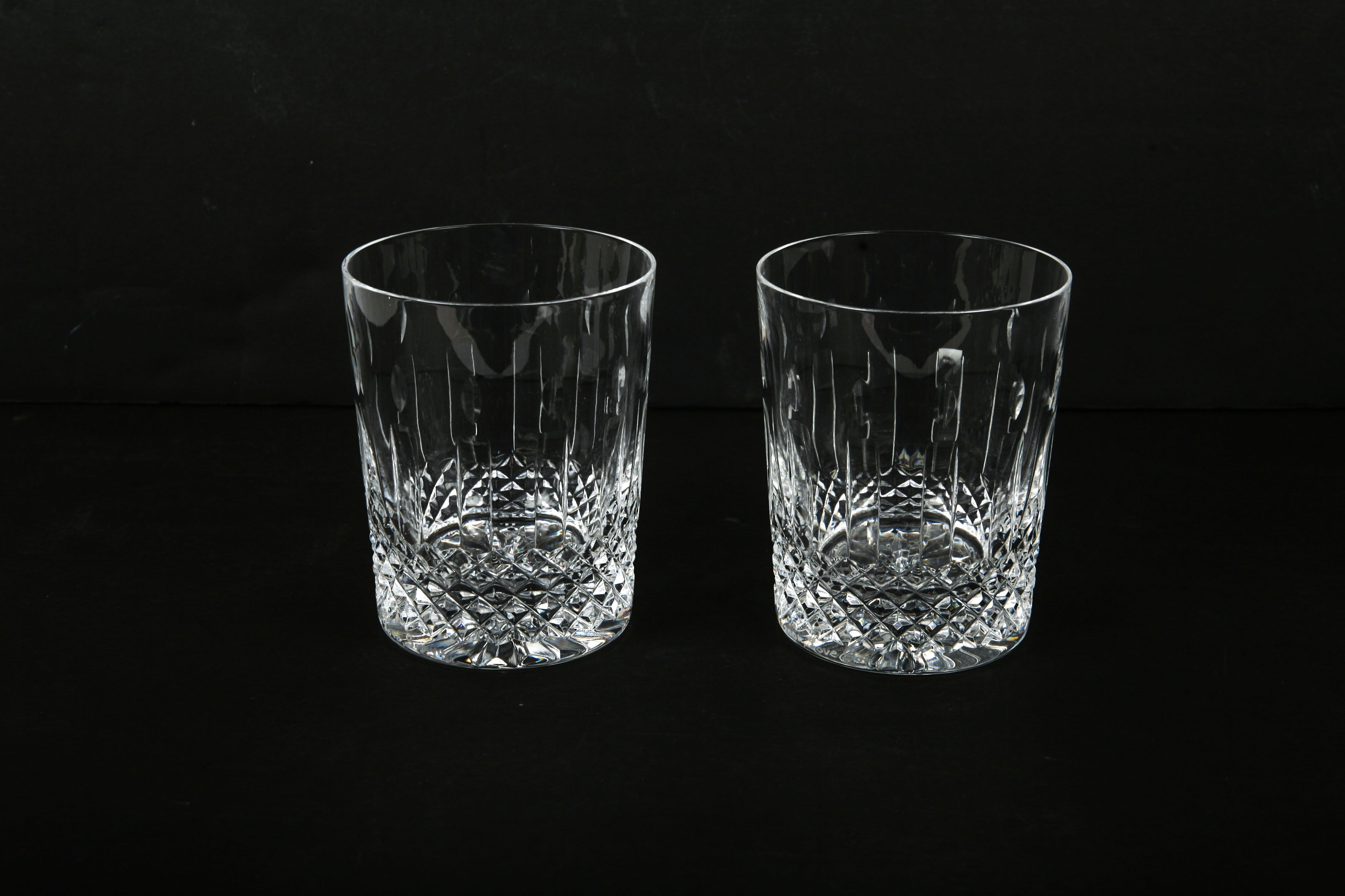 "Waterford Crystal ""Happy Birthday"" Double Old Fashioned Glasses"