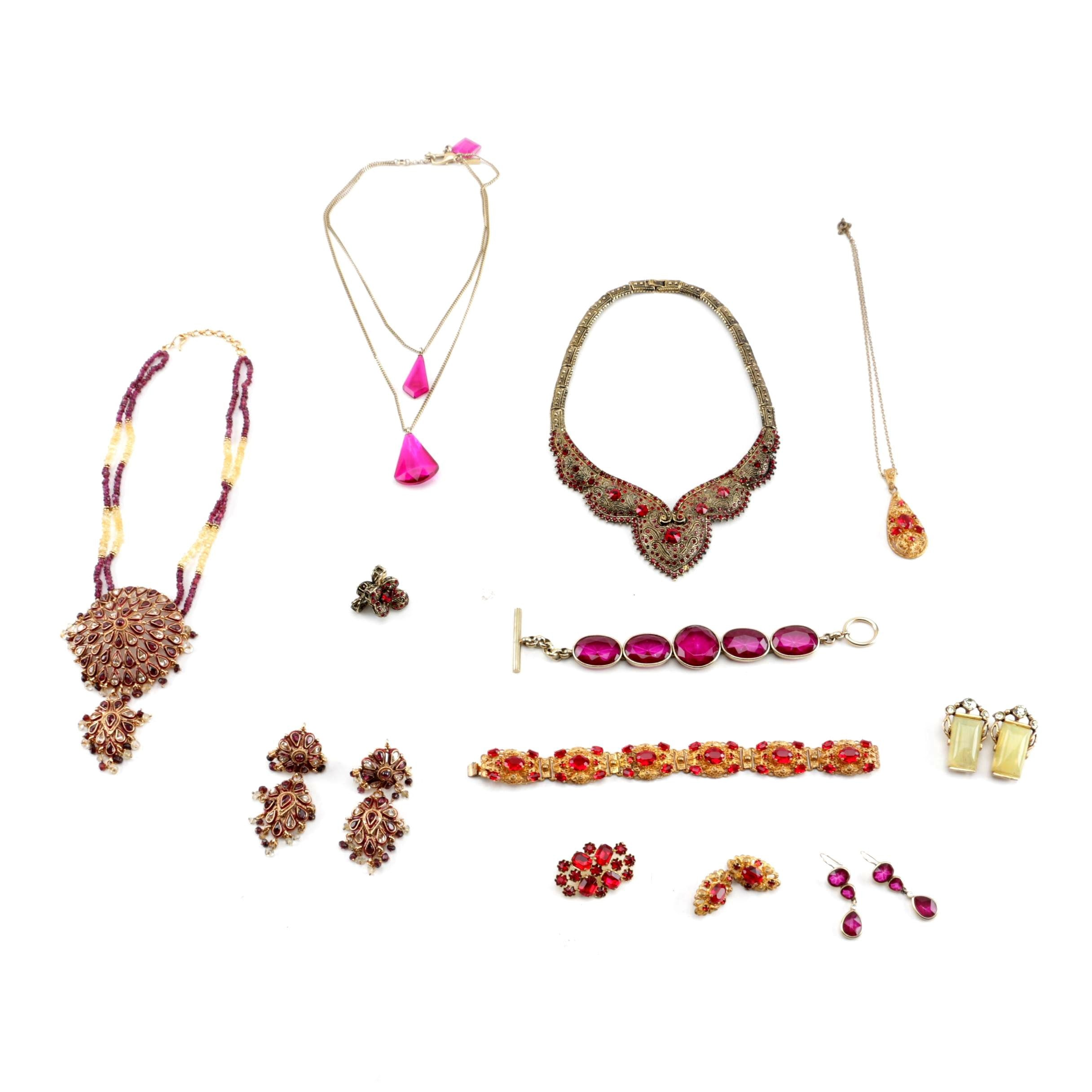 Costume Jewelry Including Demi Parure Sets with Gemstones