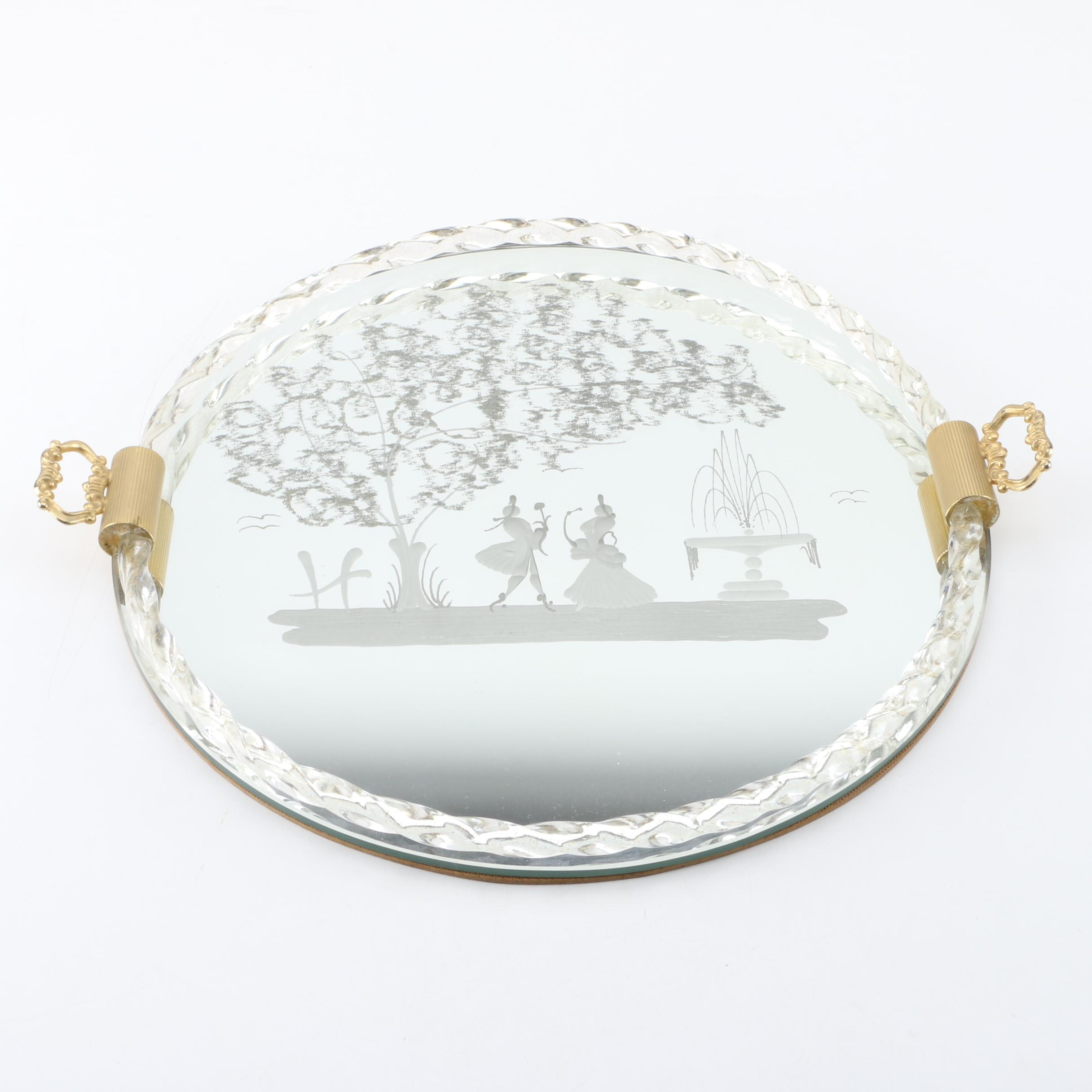 Mirrored Tray with Victorian Silhouette
