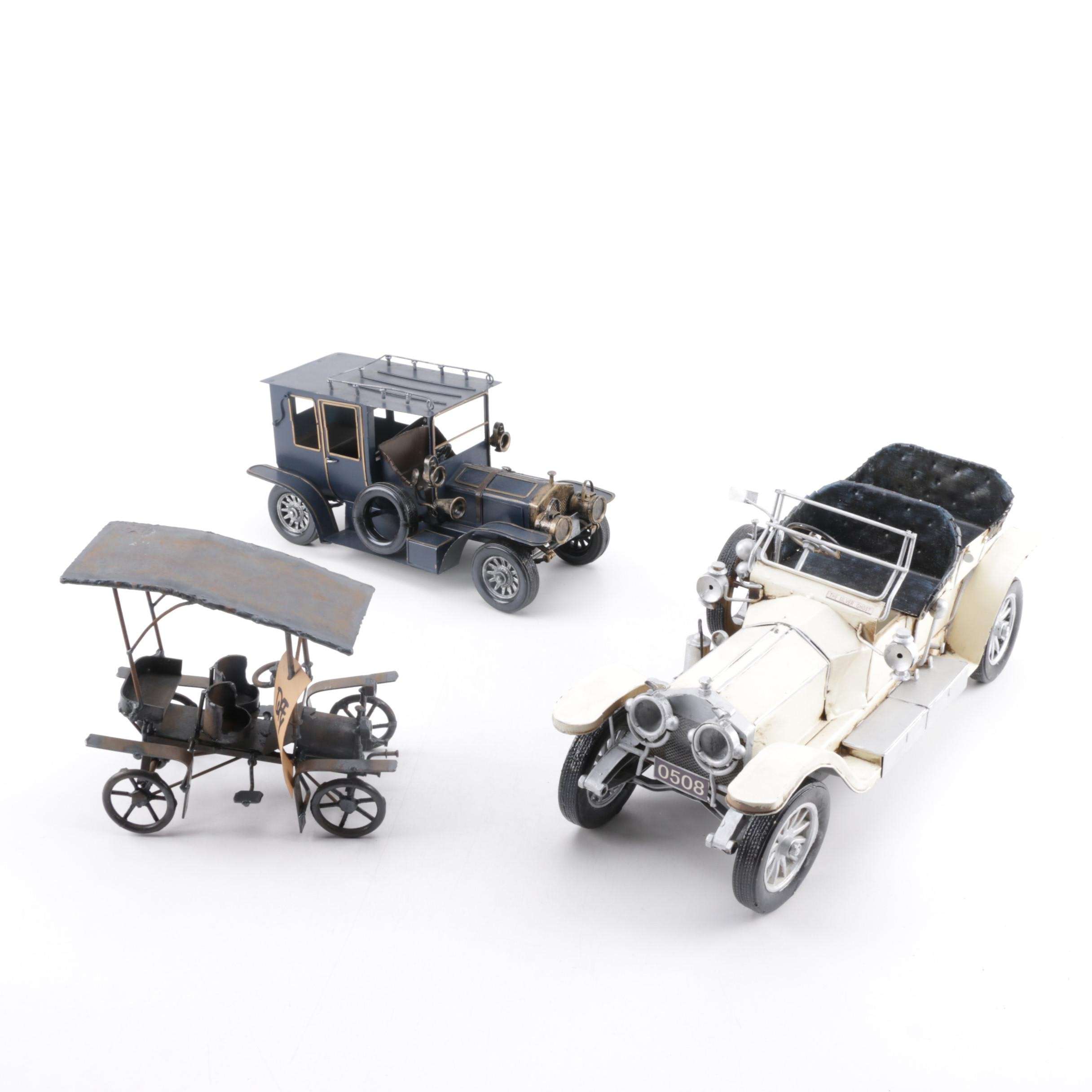 Signed John Duffy Automobile Sculpture and Other Replica Automobiles