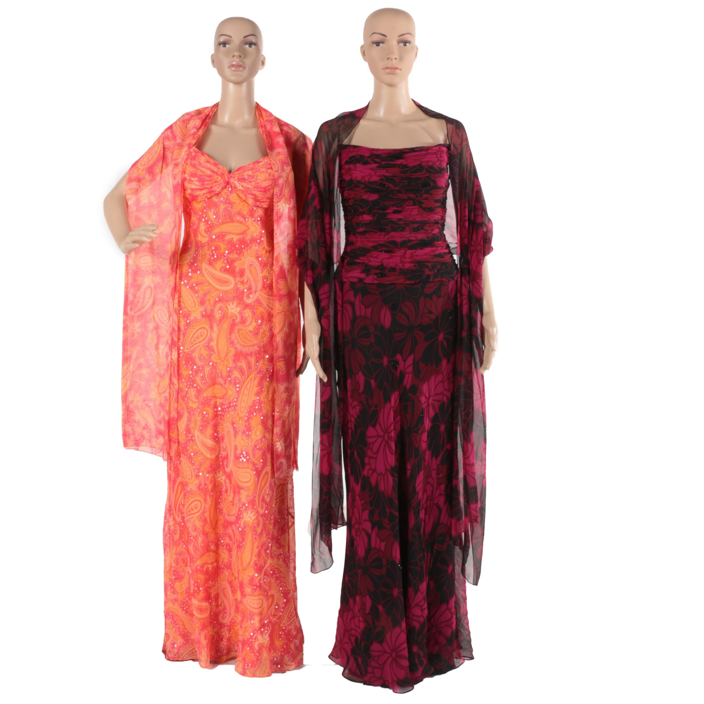 Terani Couture and Zola Ice Silk Gowns with Shawls