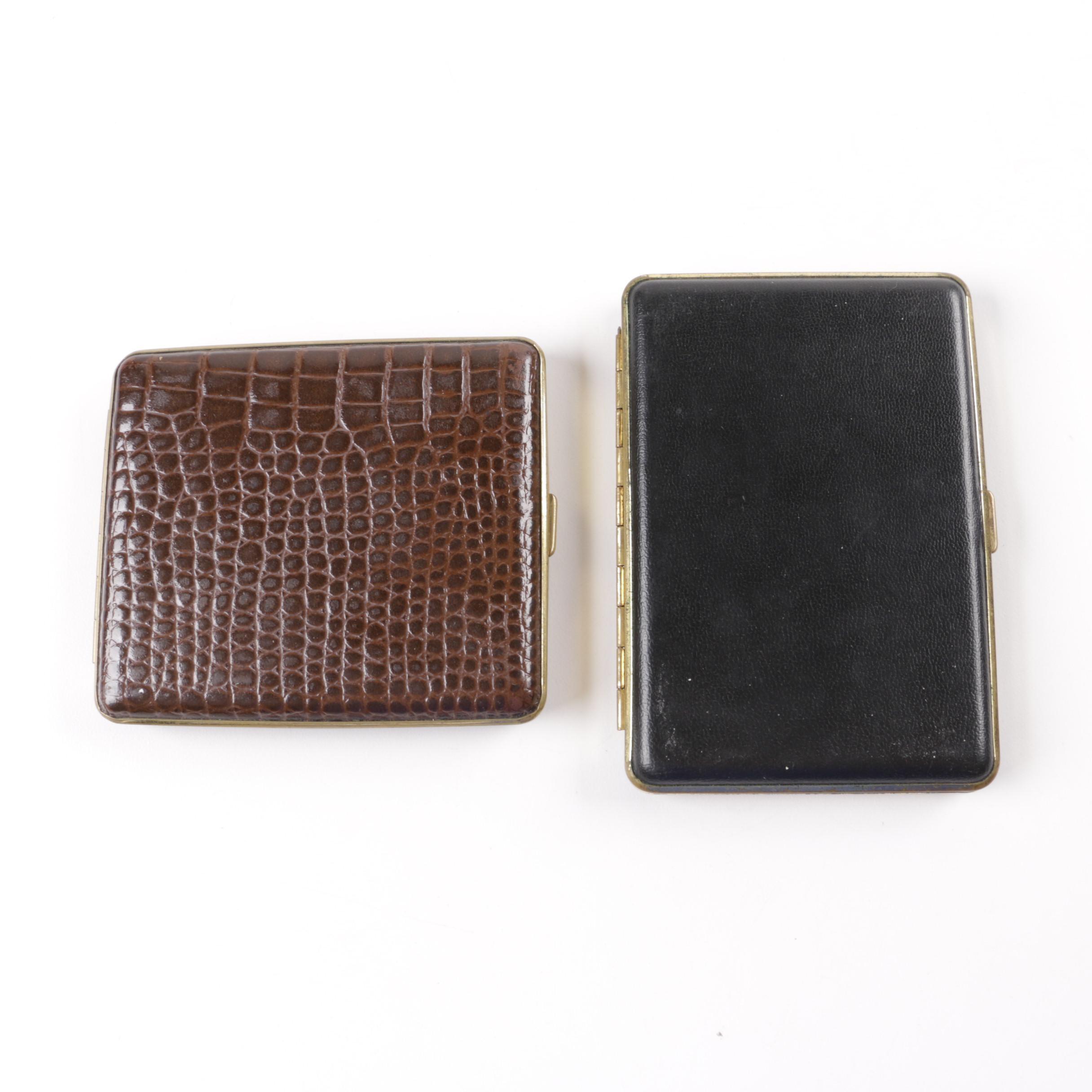 Vintage Leather Bound Cigarette Cases
