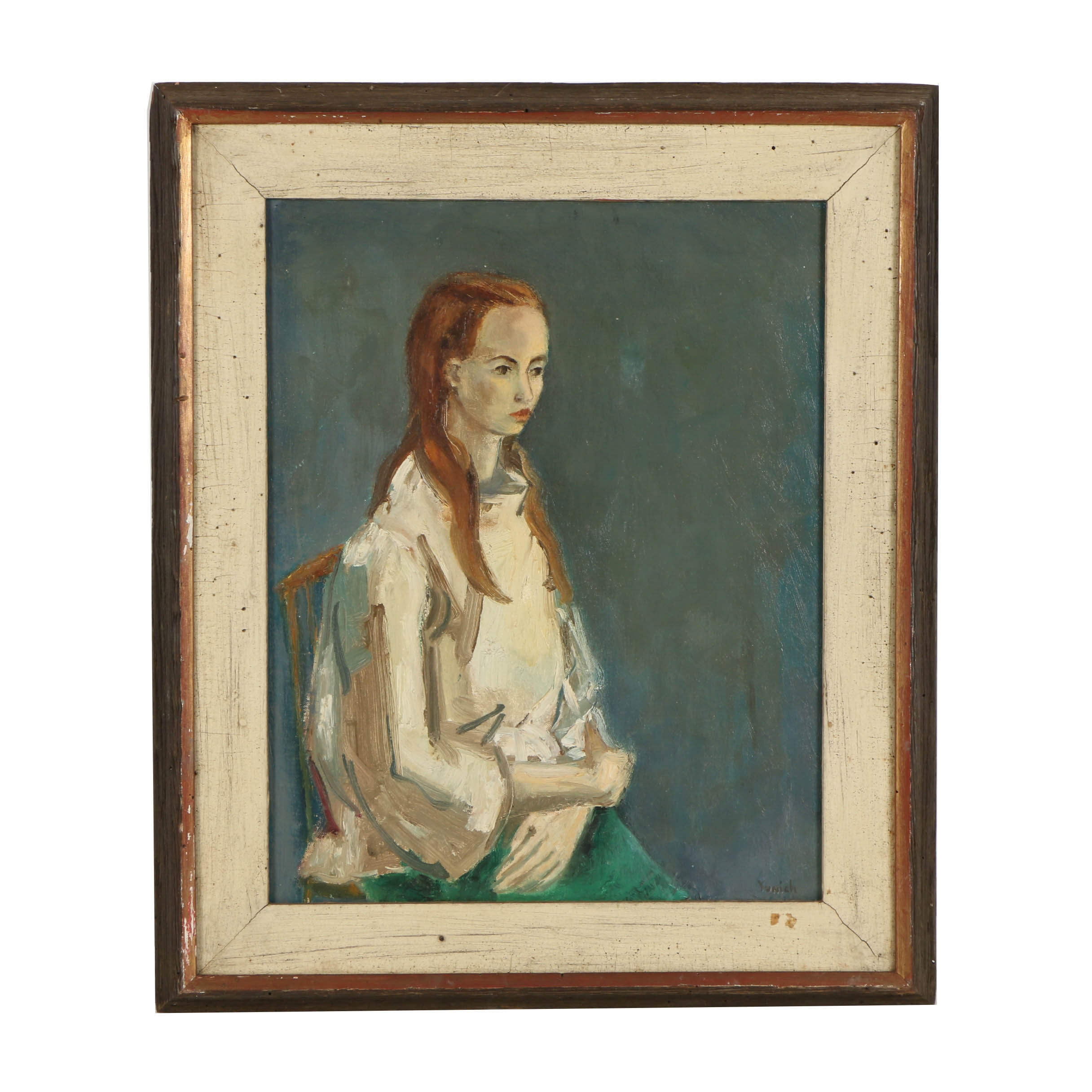 Beverly Yunich Oil Painting on Canvas of a Seated Figure