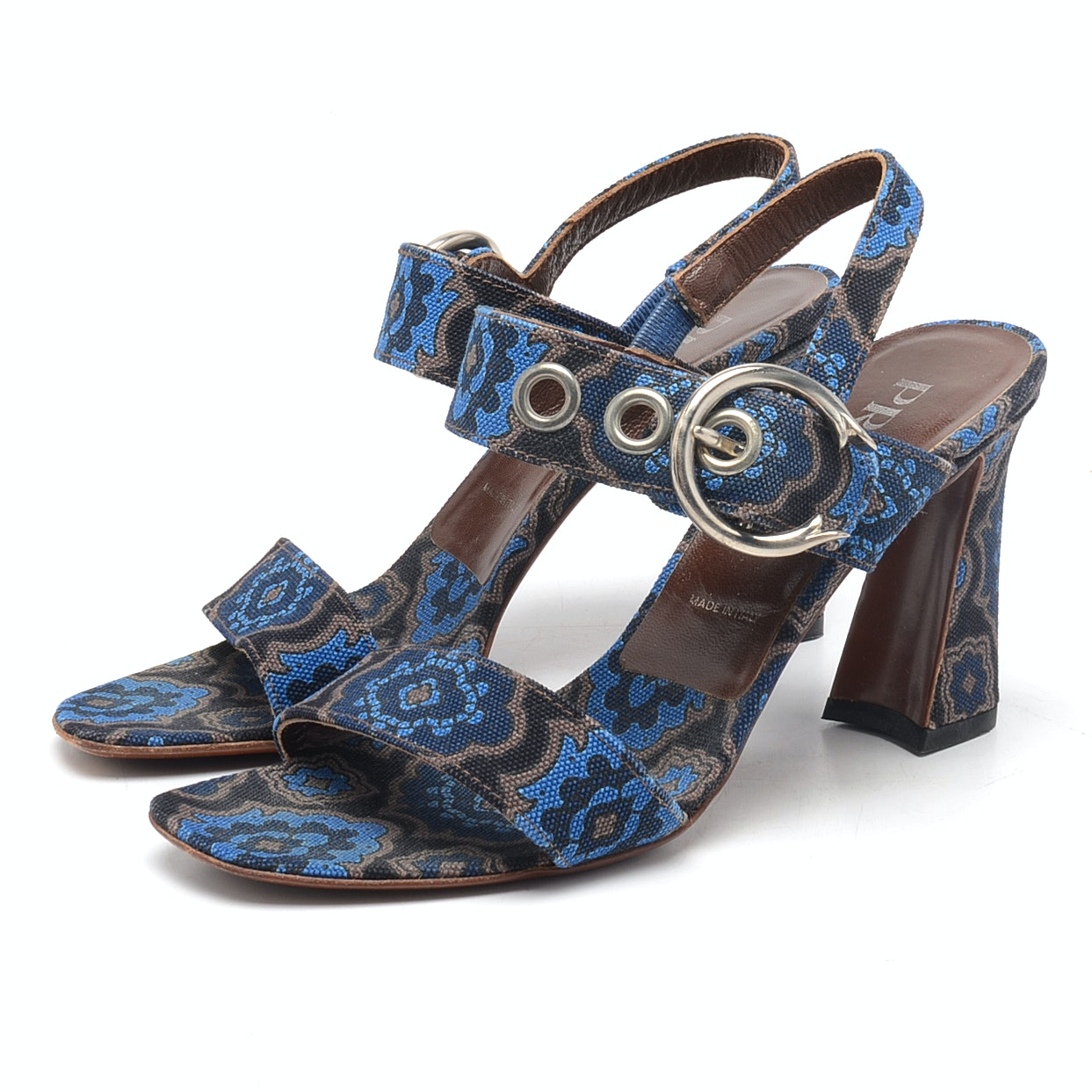 Prada Slingback Paisley Sandals