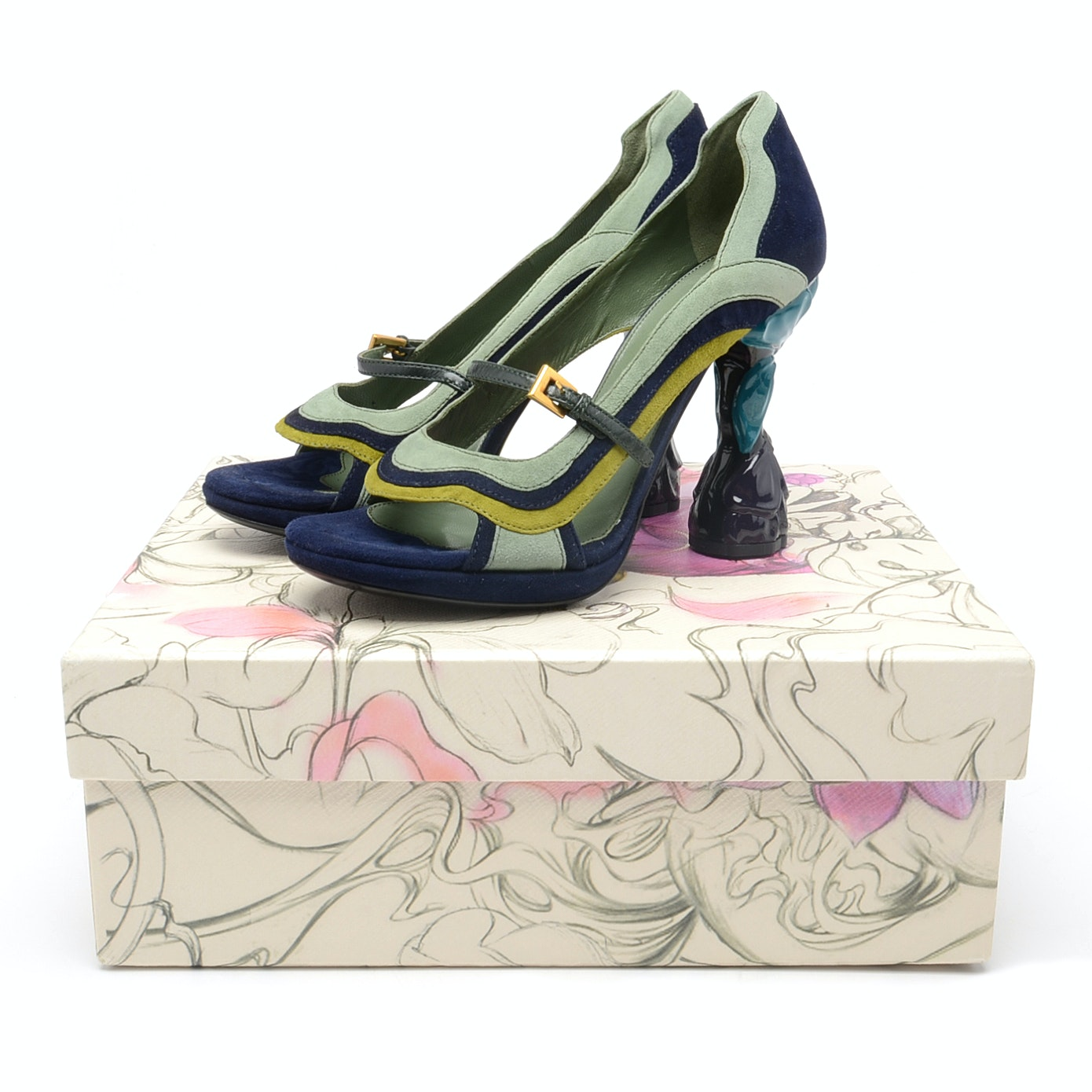 Prada 2007 Fairy Collection Suede Sculptural Heels