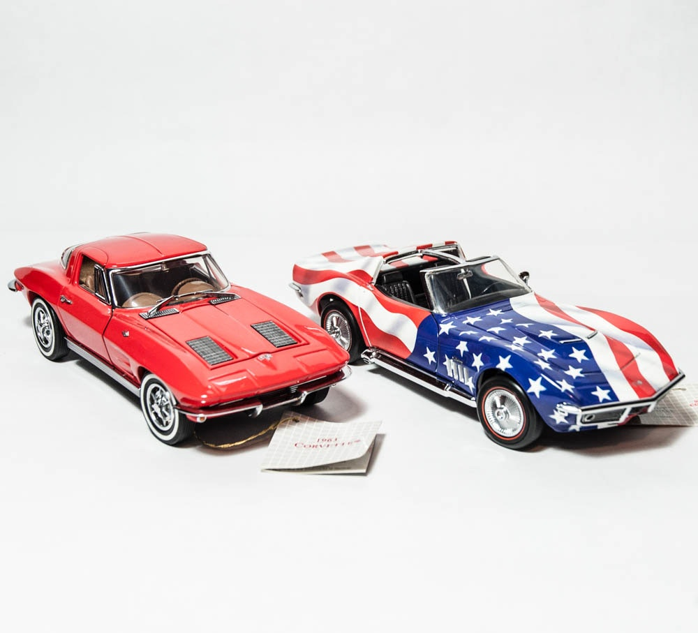 1963 Corvette with Stars & Stripes Corvette Stingray Franklin Mint DieCast Model