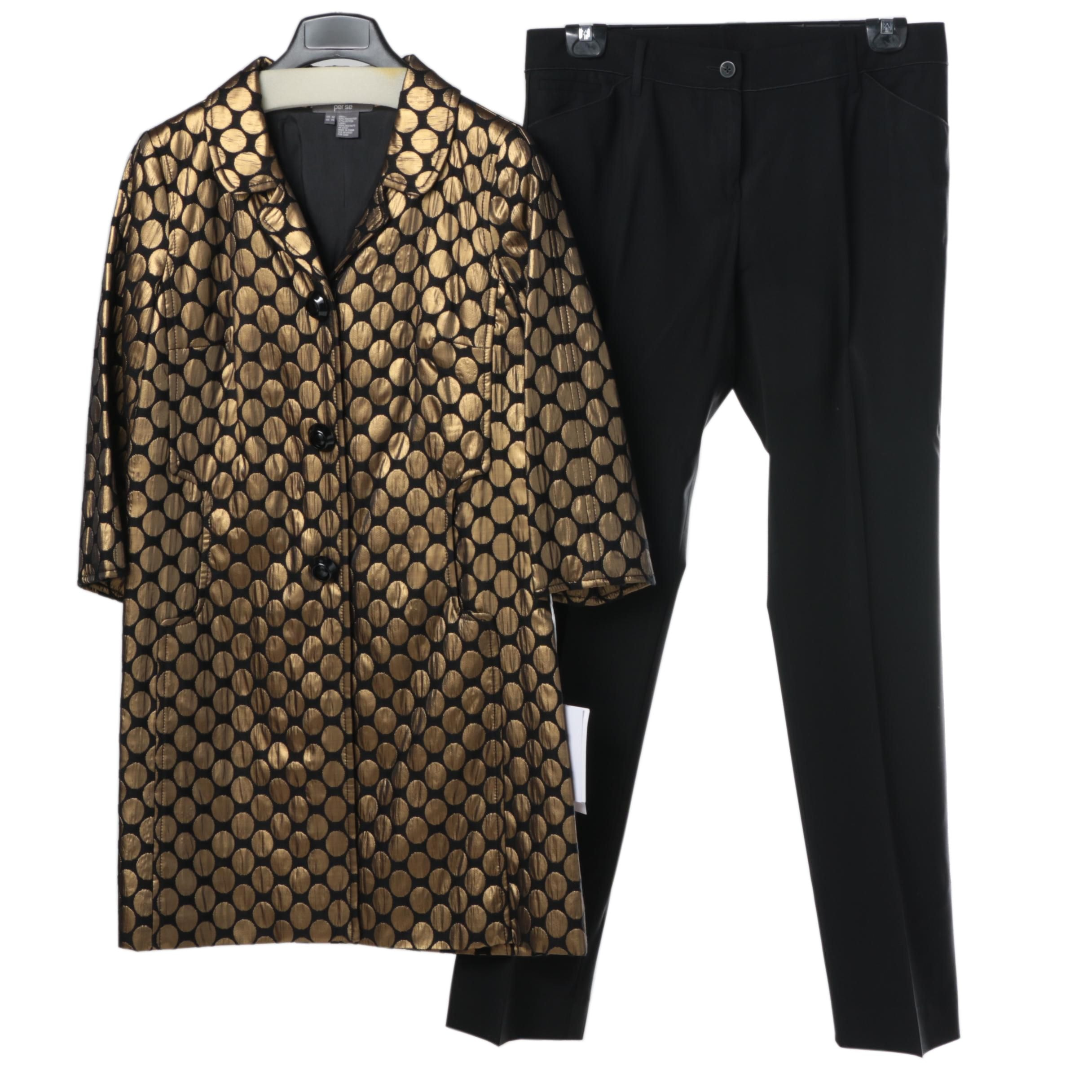 Women's Per Se Gold-Toned Cloqué Jacket with Black Pants