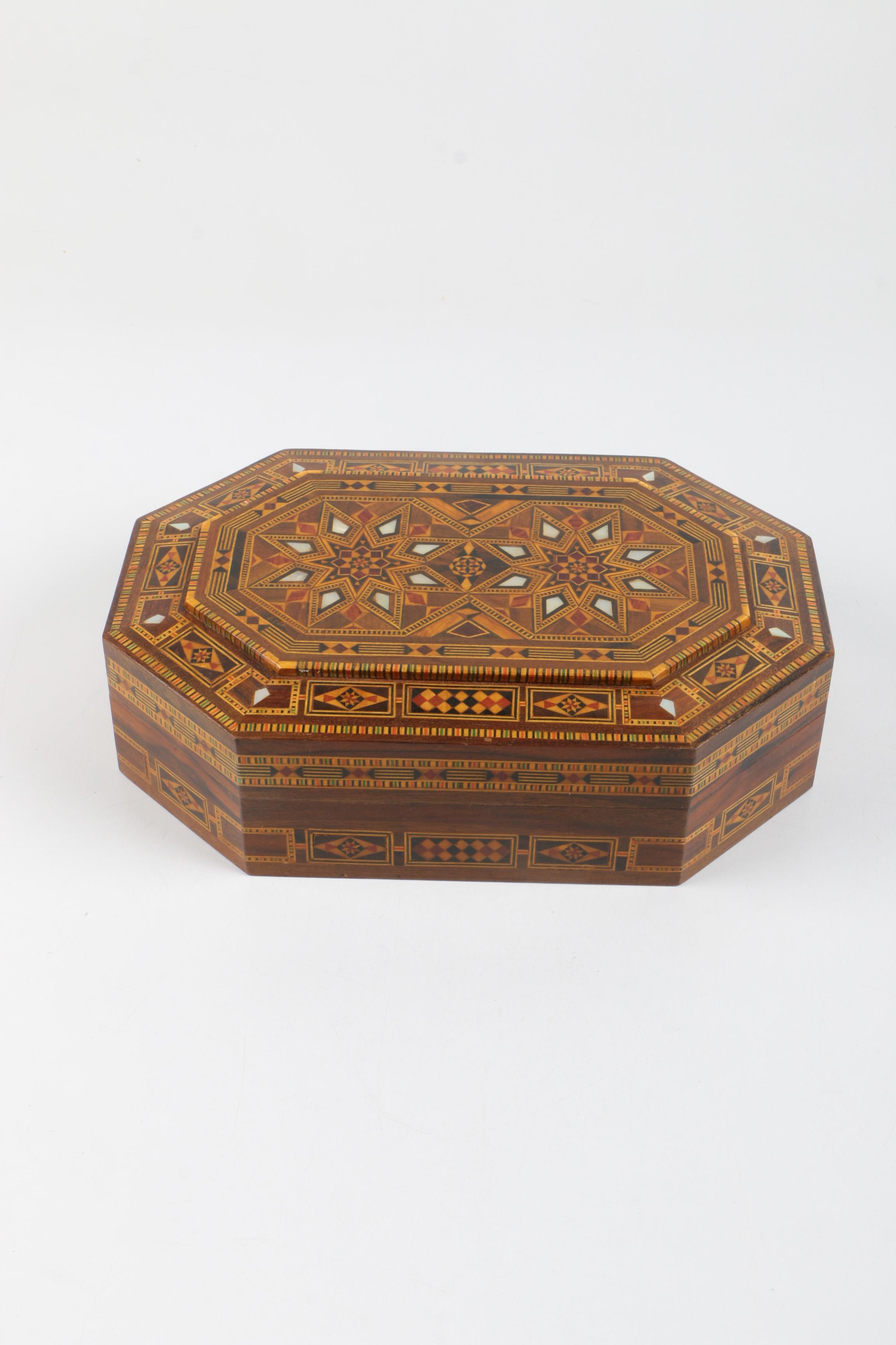 Moroccan Wood Box with Mother of Pearl Inlay