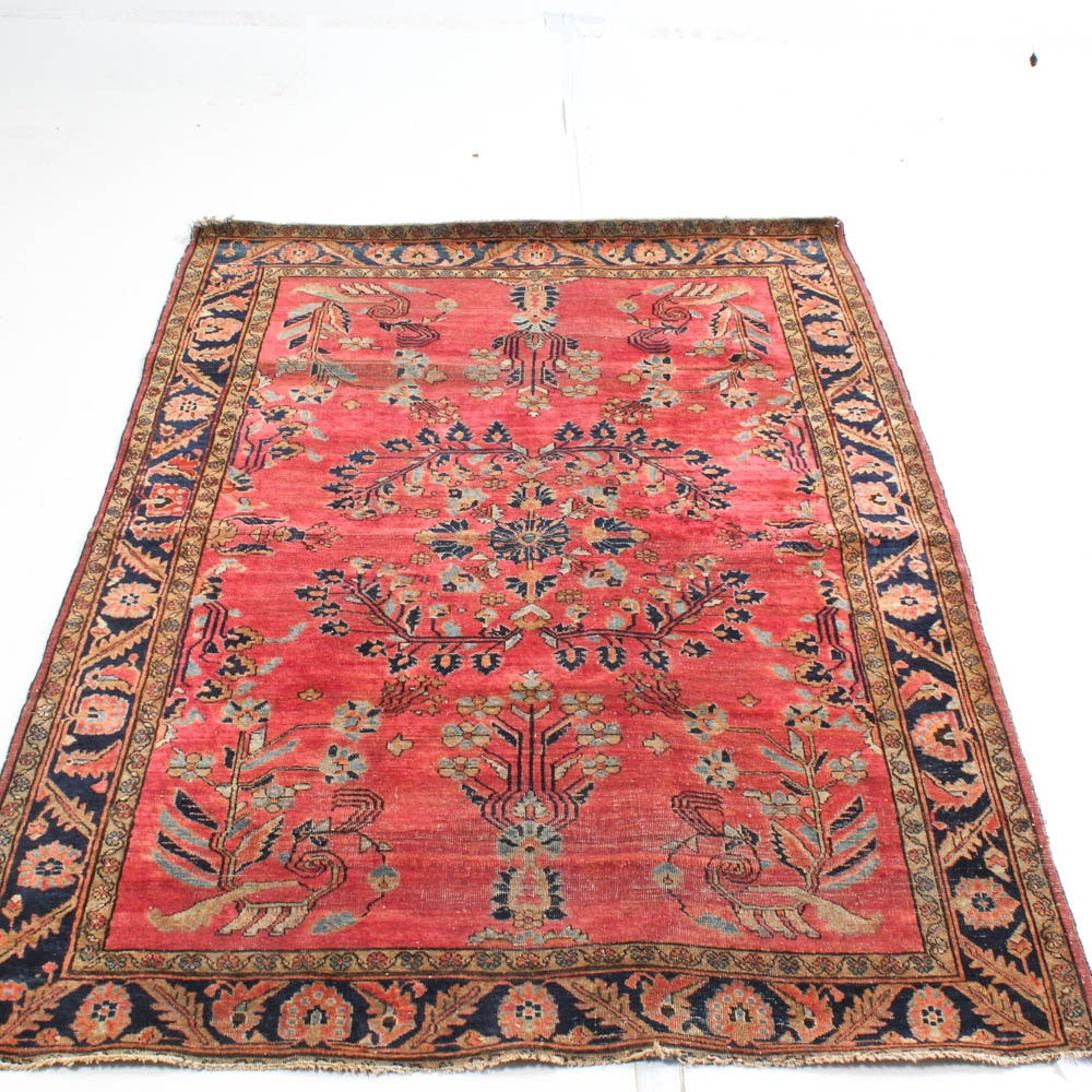 Antique Hand Knotted Persian Mahajeran Sarouk Area Rug