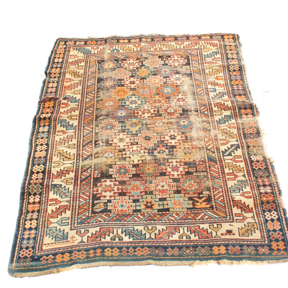 Antique Hand Knotted Caucasian Shirvan Area Rug