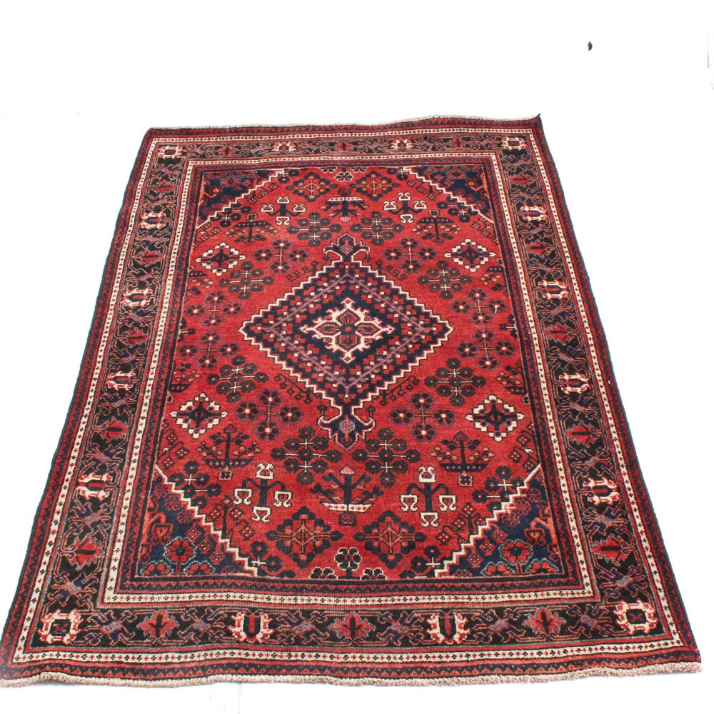 Vintage Hand Knotted Persian Mahal Area Rug