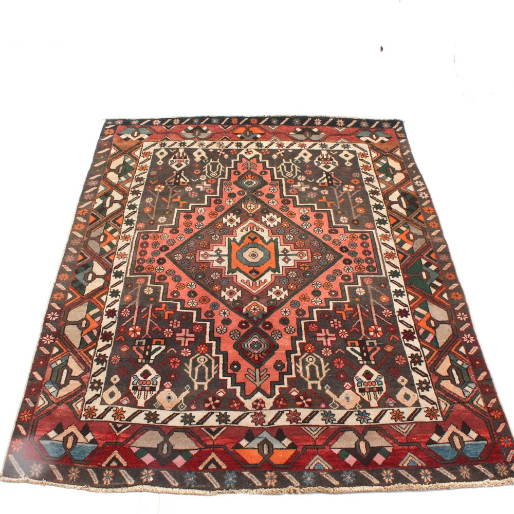 Vintage Hand Knotted Persian Karaja Area Rug