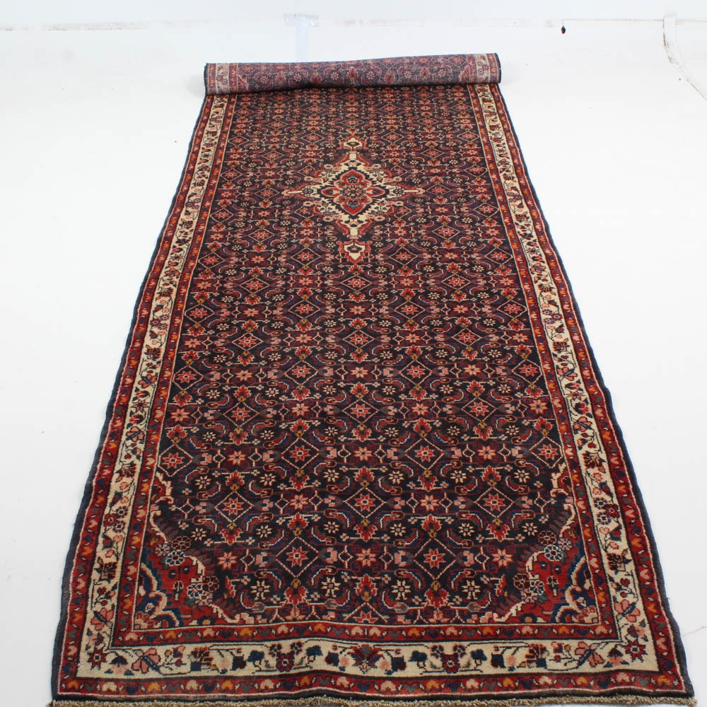 Vintage Hand Knotted Persian Malayer Sarouk Runner