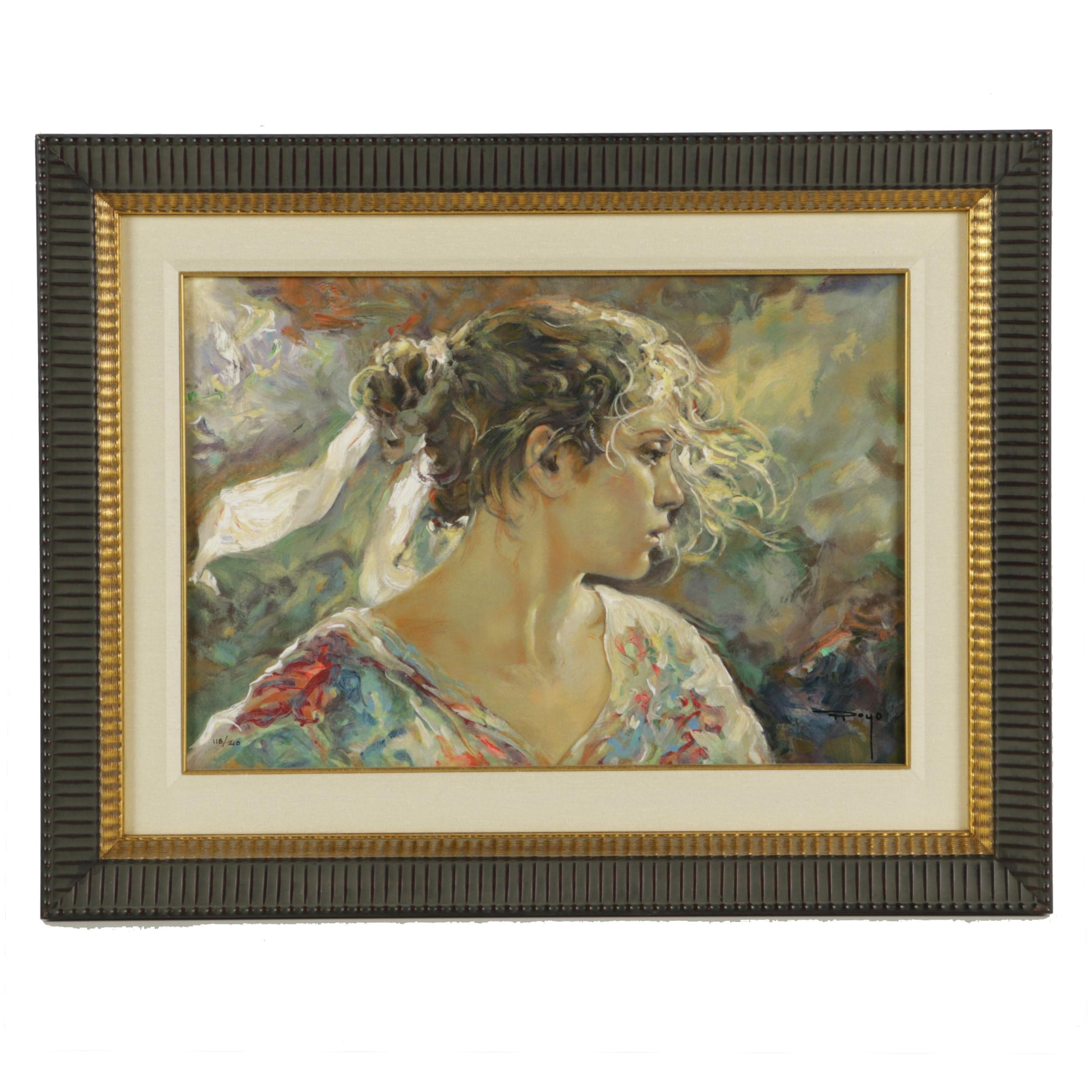 "Jose Royo Limited Edition Embellished Serigraph on Board ""Nostalgia"""