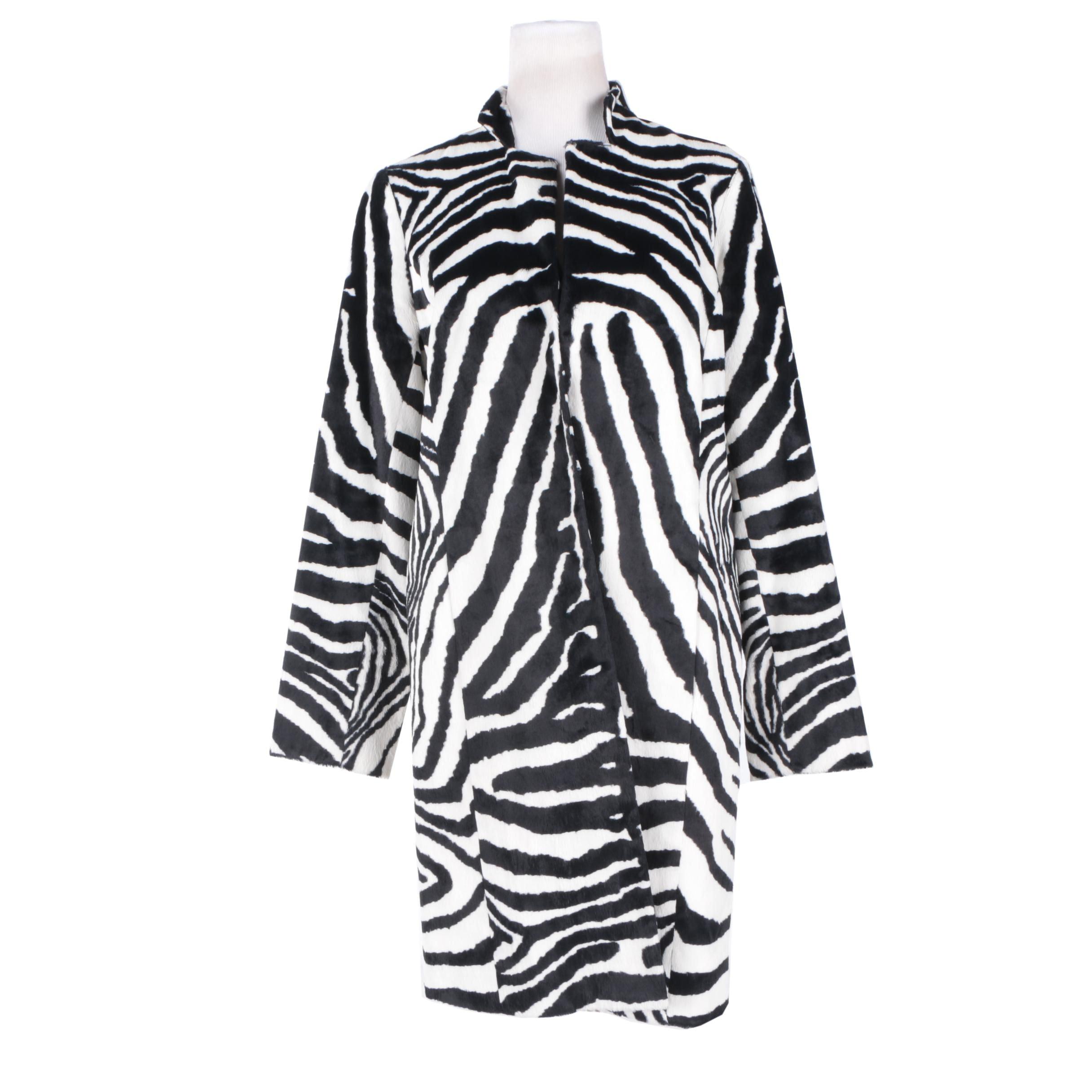 Women's W by Worth Zebra Print Cotton Blend Coat