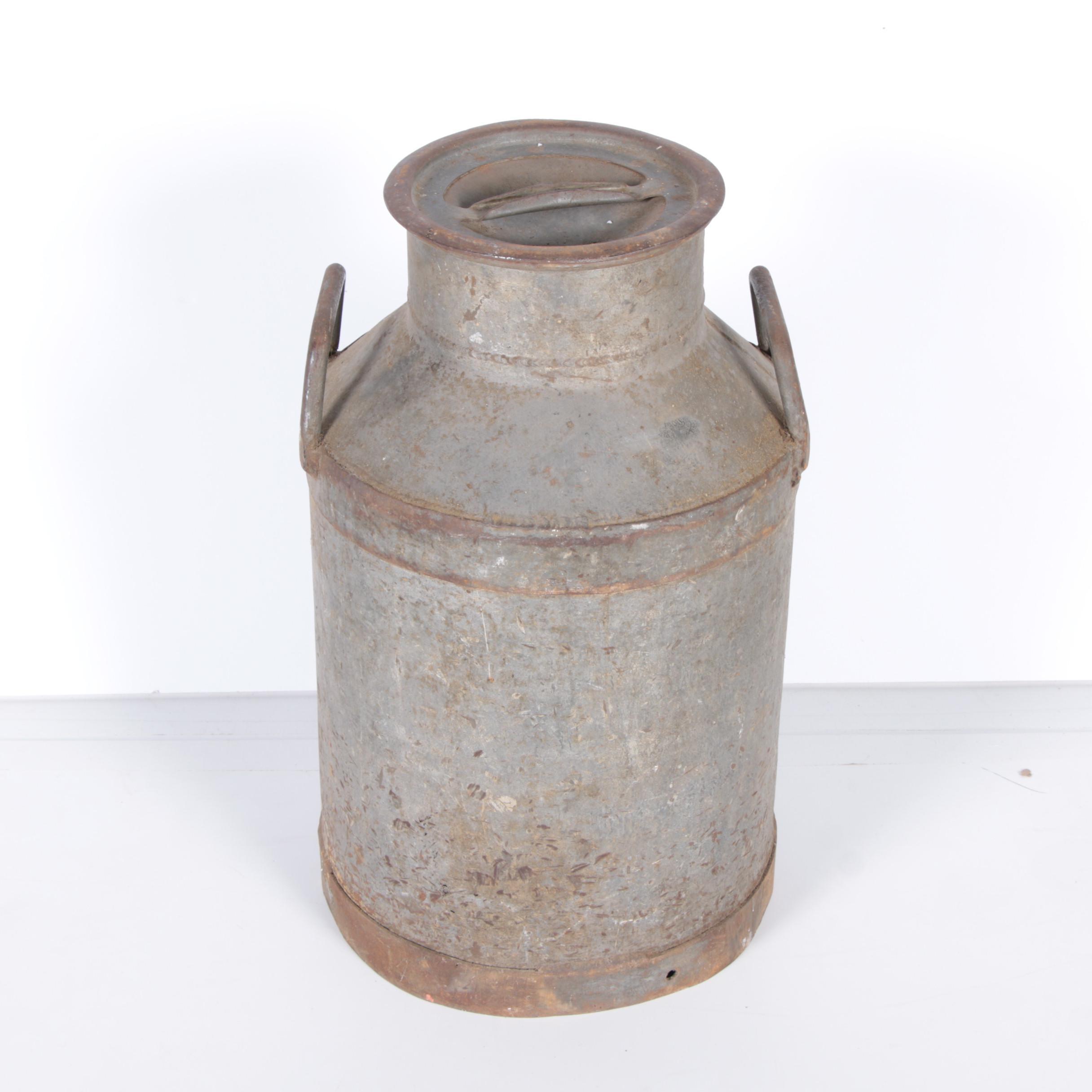 Large Vintage Metal Milk Jug