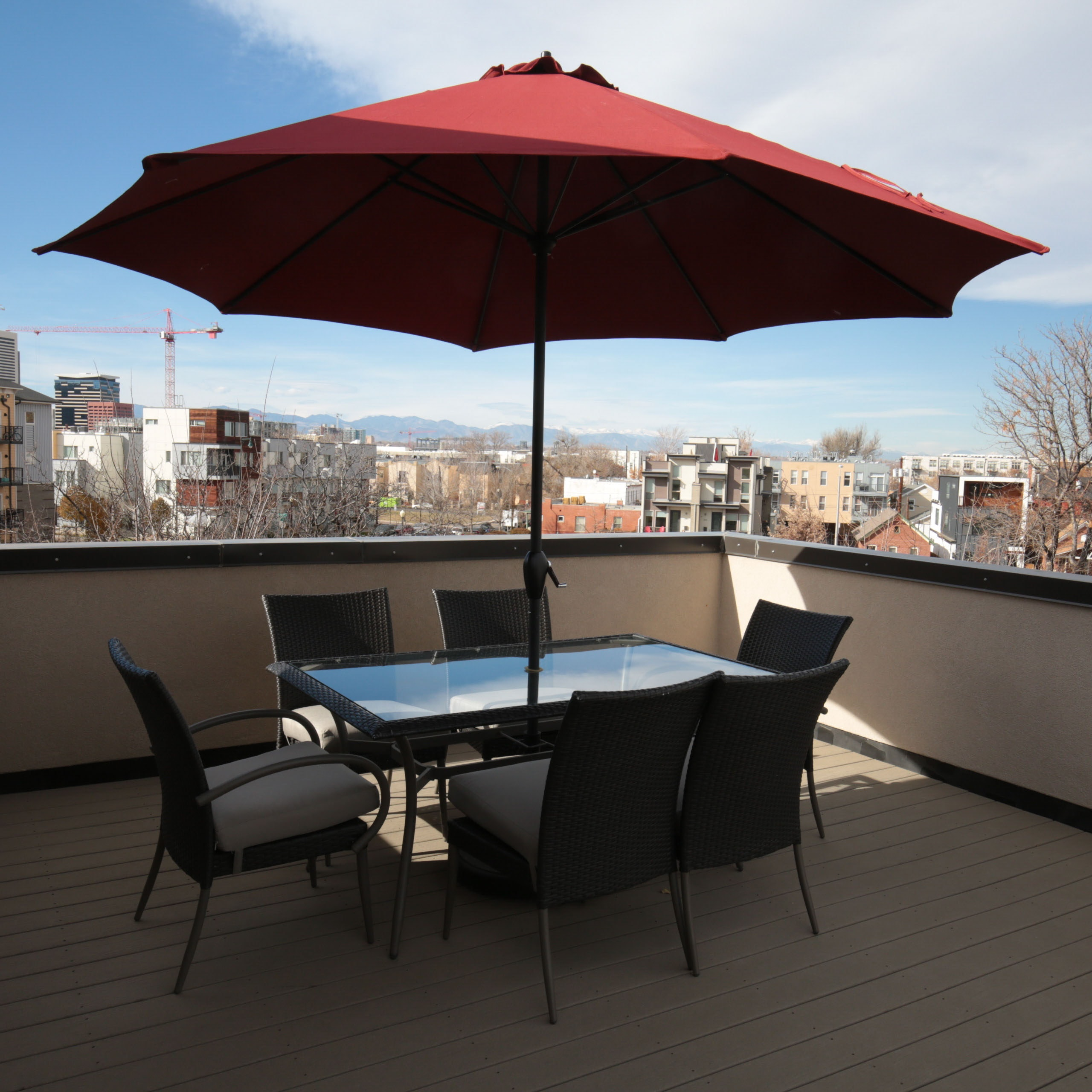 Contemporary Faux Wicker Patio Furniture with Umbrella