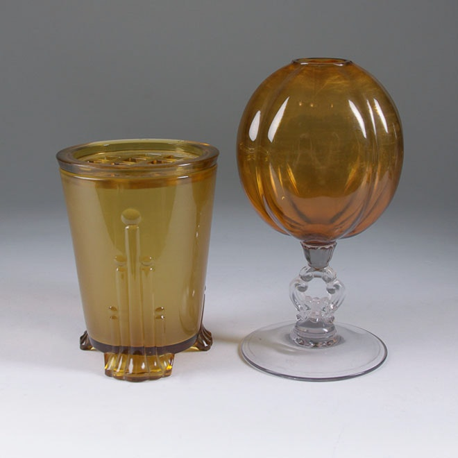 "Sowerby Amber Glass Vase and Cambridge Key Hole ""Ivy Vase"""