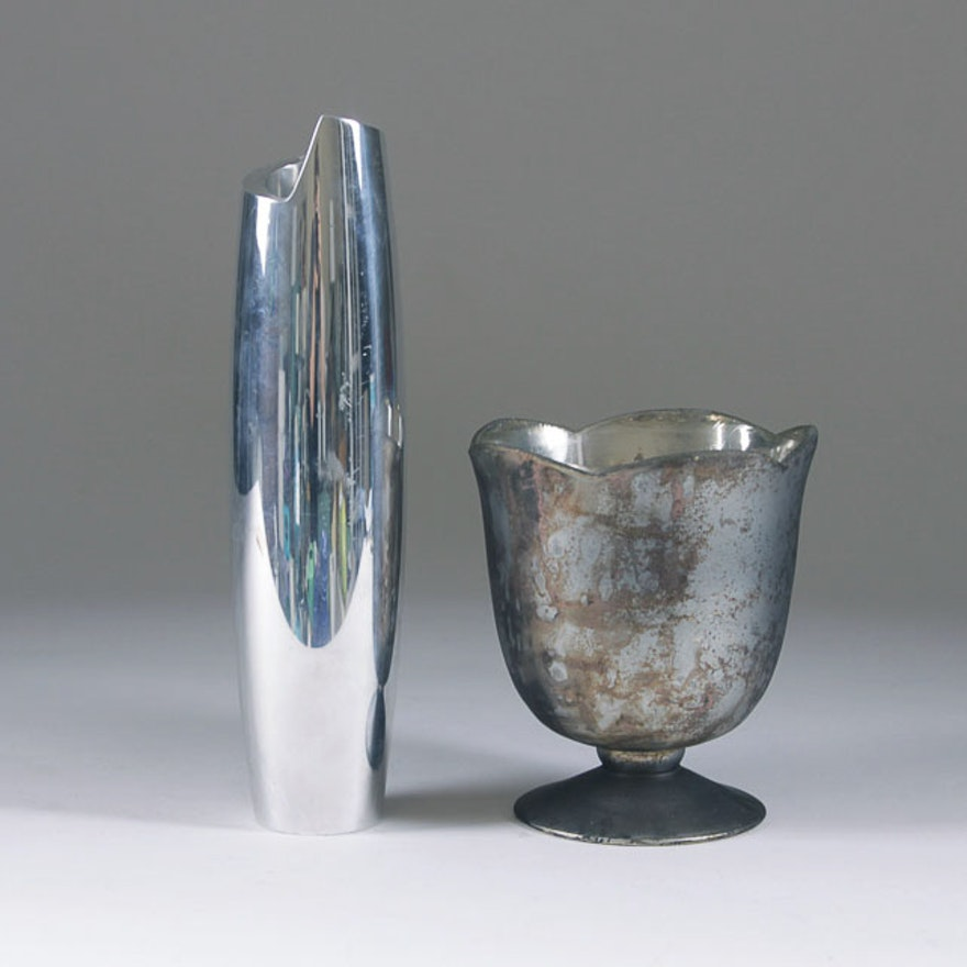 Silver Tone Vases Featuring Nambe Ebth