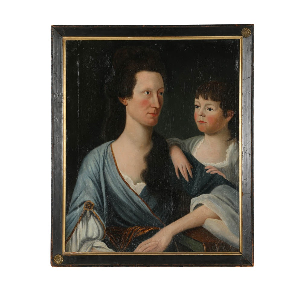 American School Oil Painting on Canvas Double Portrait of Mother and Child