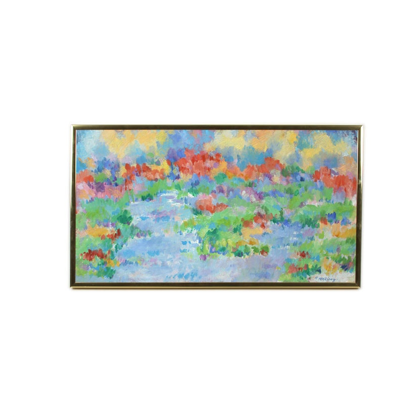"Mary M. Riney Abstract Oil Painting ""Color Garden"""