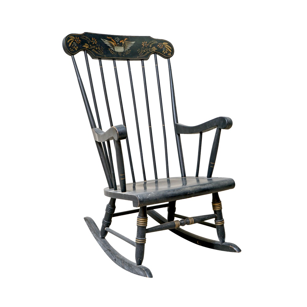 Hitchcock Style Windsor Rocking Chair With Eagle Stencil