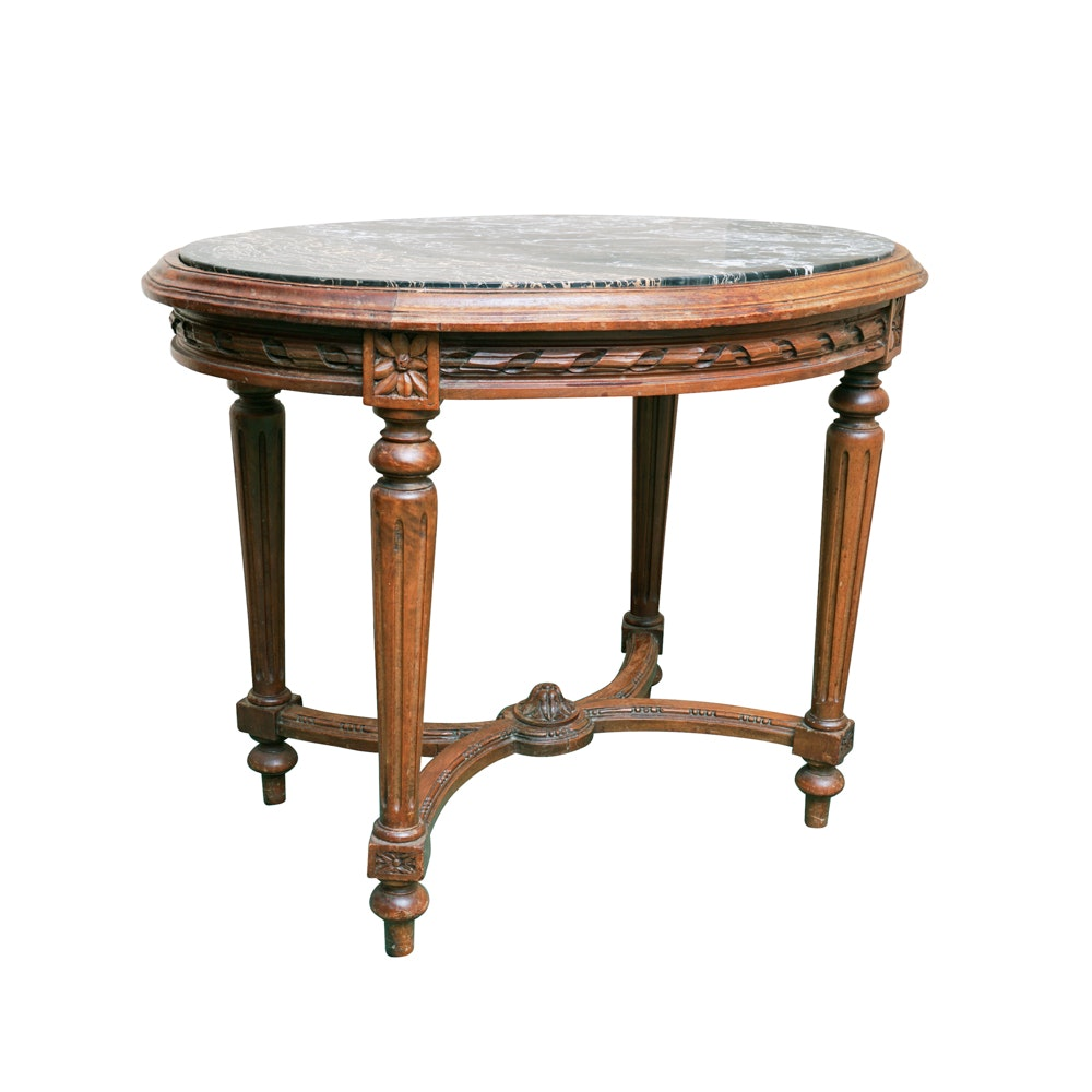 Vintage Italian Marble Topped Oval Coffee Table