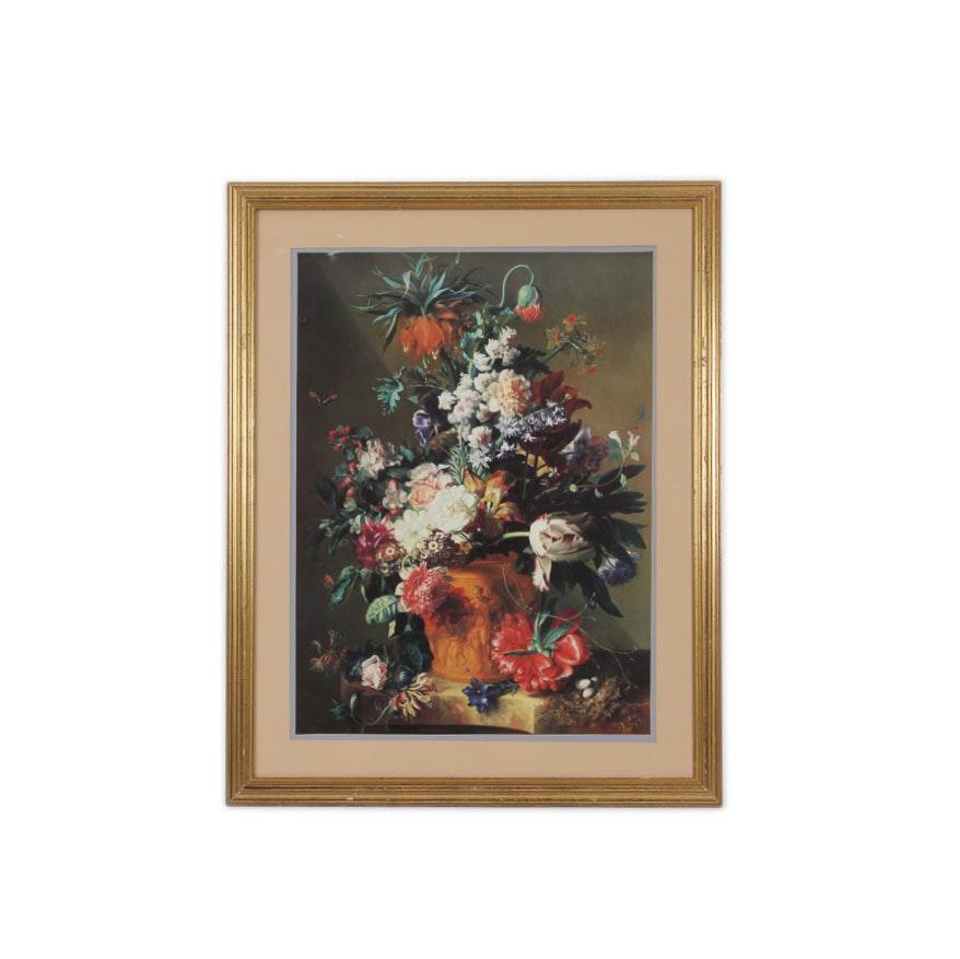 "Reproduction Print After Jan Van Huysum ""Vase of Flowers"""