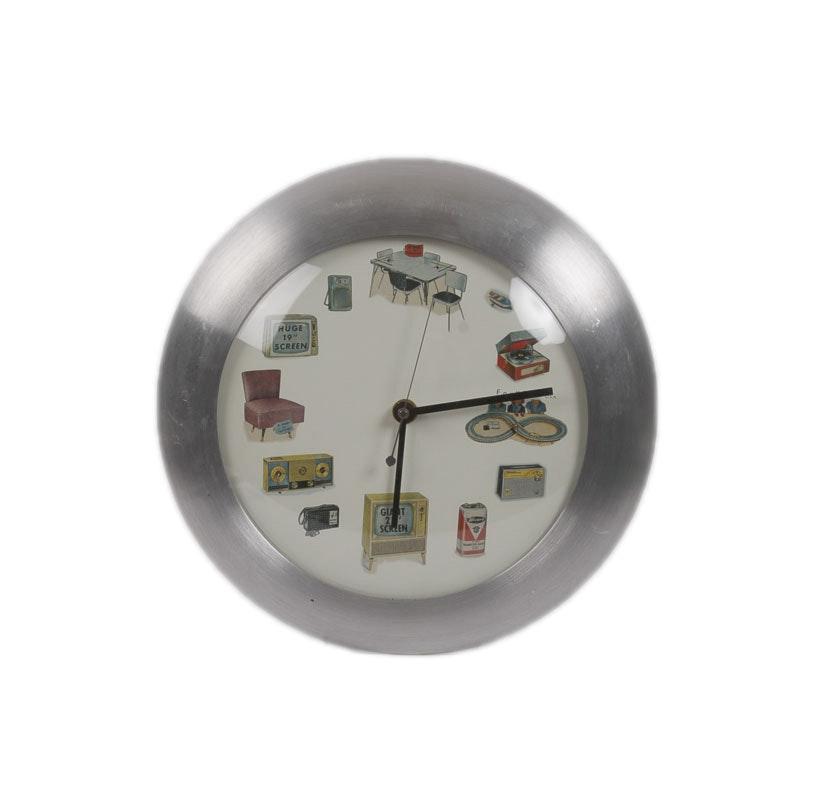 FoxClox Mid Century Modern Style Wall Clock