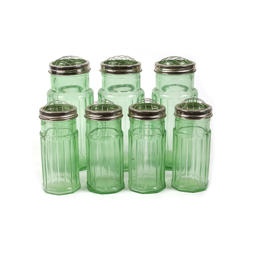 Green Glass Flower Containers