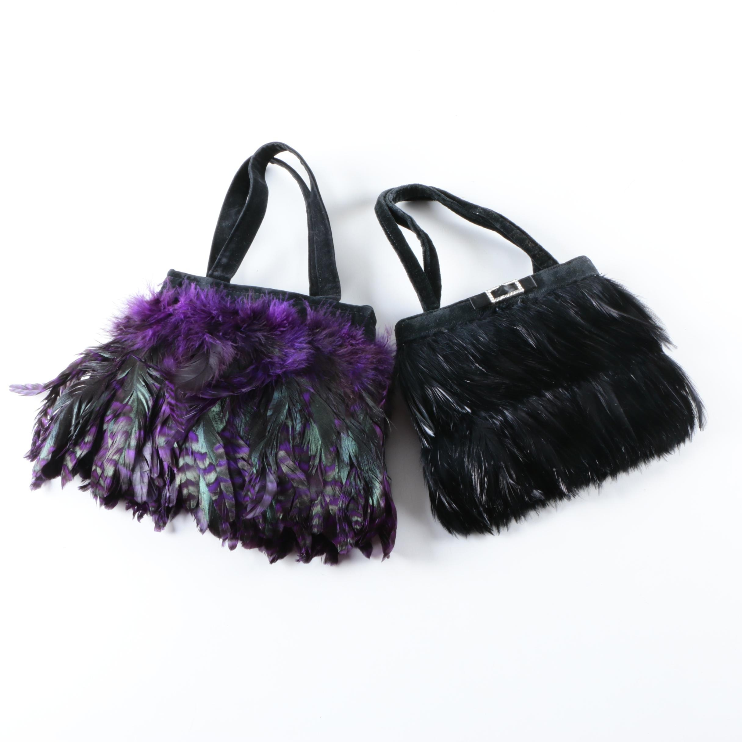 Two Feather Handbags Including Noir
