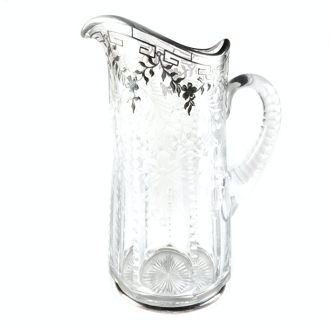 Vintage Cut Glass Pitcher with Silver Overlay