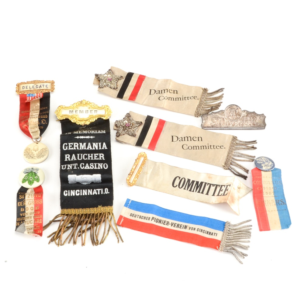 Vintage Collection of German Society Ribbons