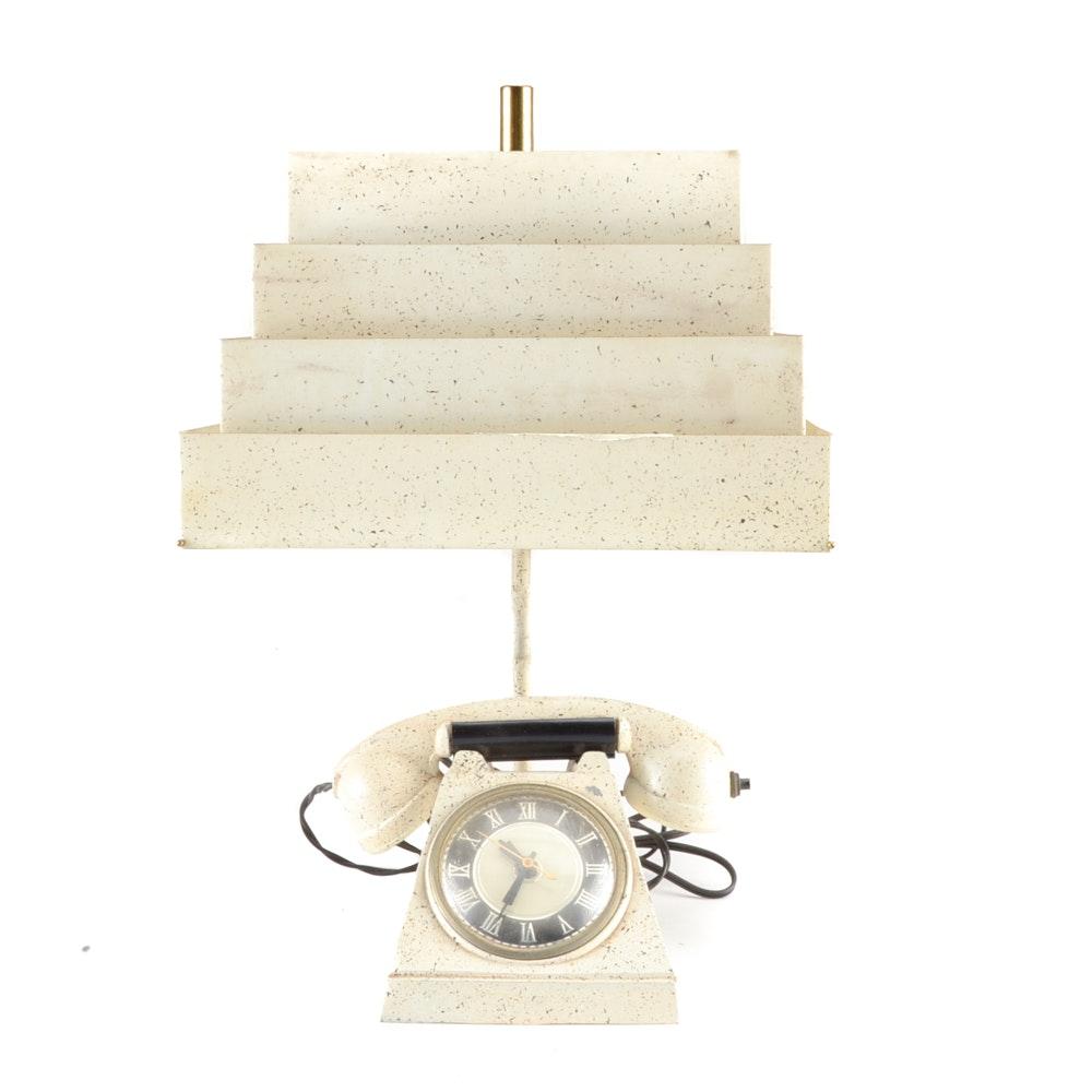 Mid Century Modern Telephone Clock Lamp