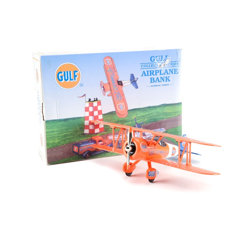 Spec Cast Gulf Oil Stearman Biplane Die Cast Coin Bank