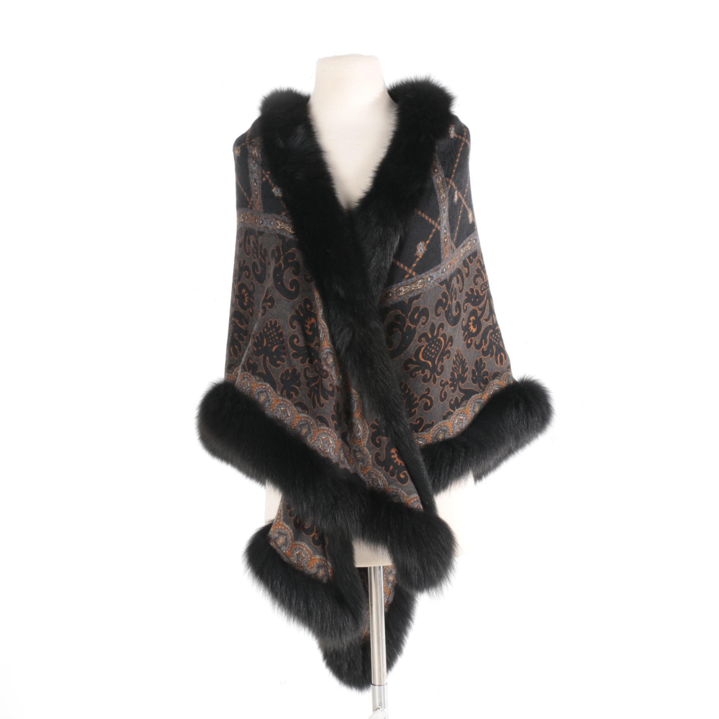 Black Fox Fur Trimmed Cape