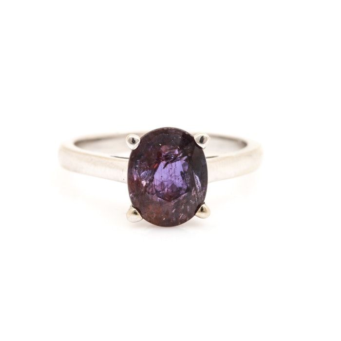 14K White Gold 2.44 CT Purple Sapphire Solitaire Ring
