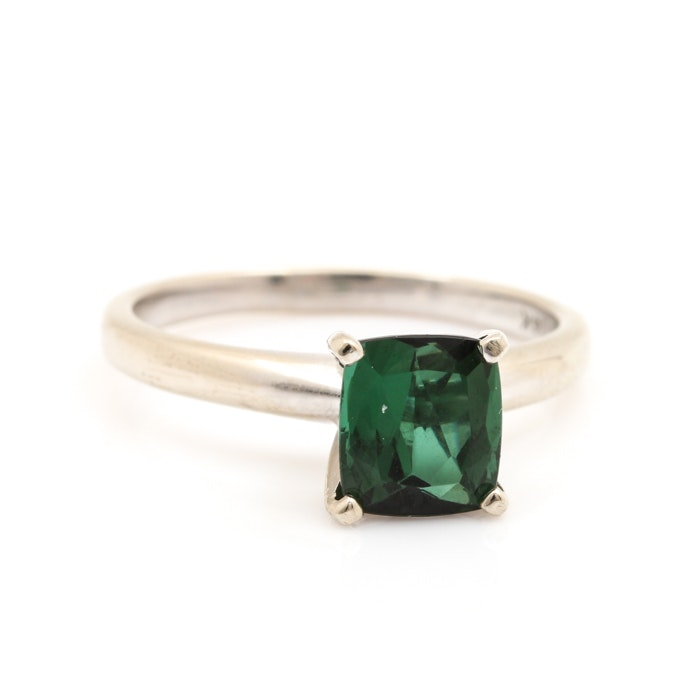 14K White Gold 1.33 CT Green Tourmaline Solitaire Ring