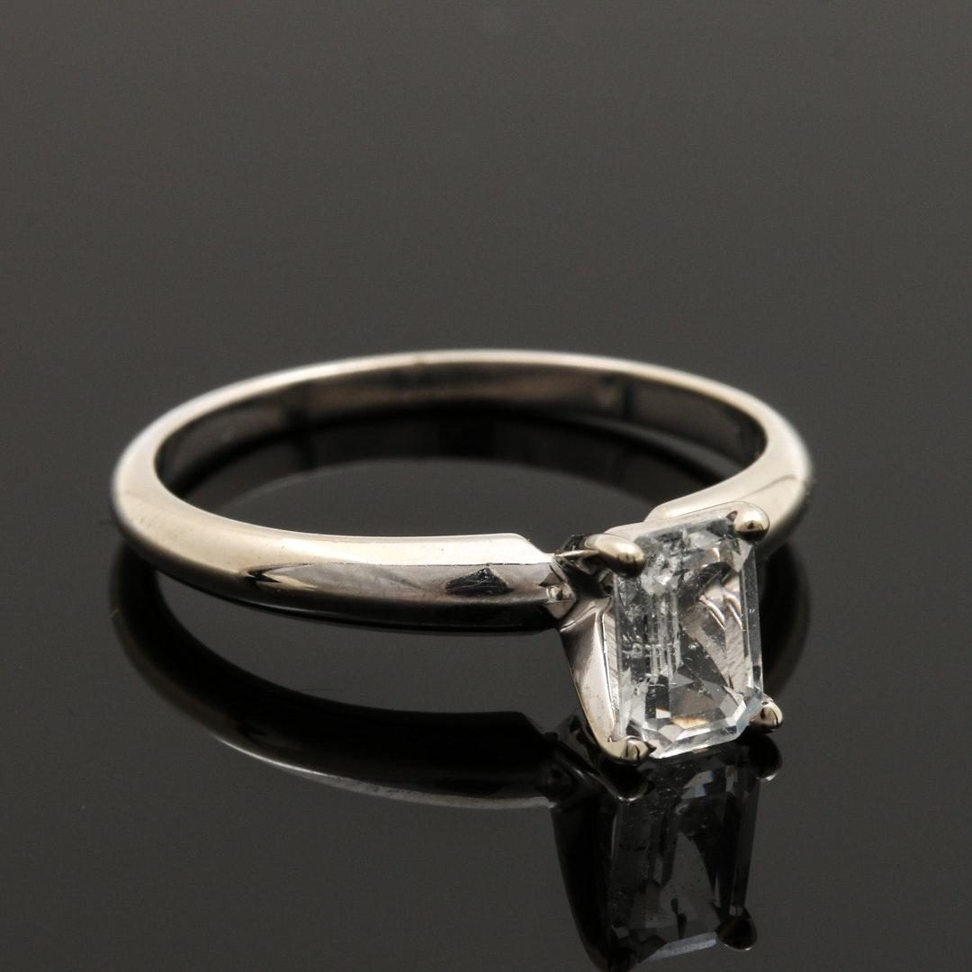 14K White Gold White Sapphire Solitaire Ring