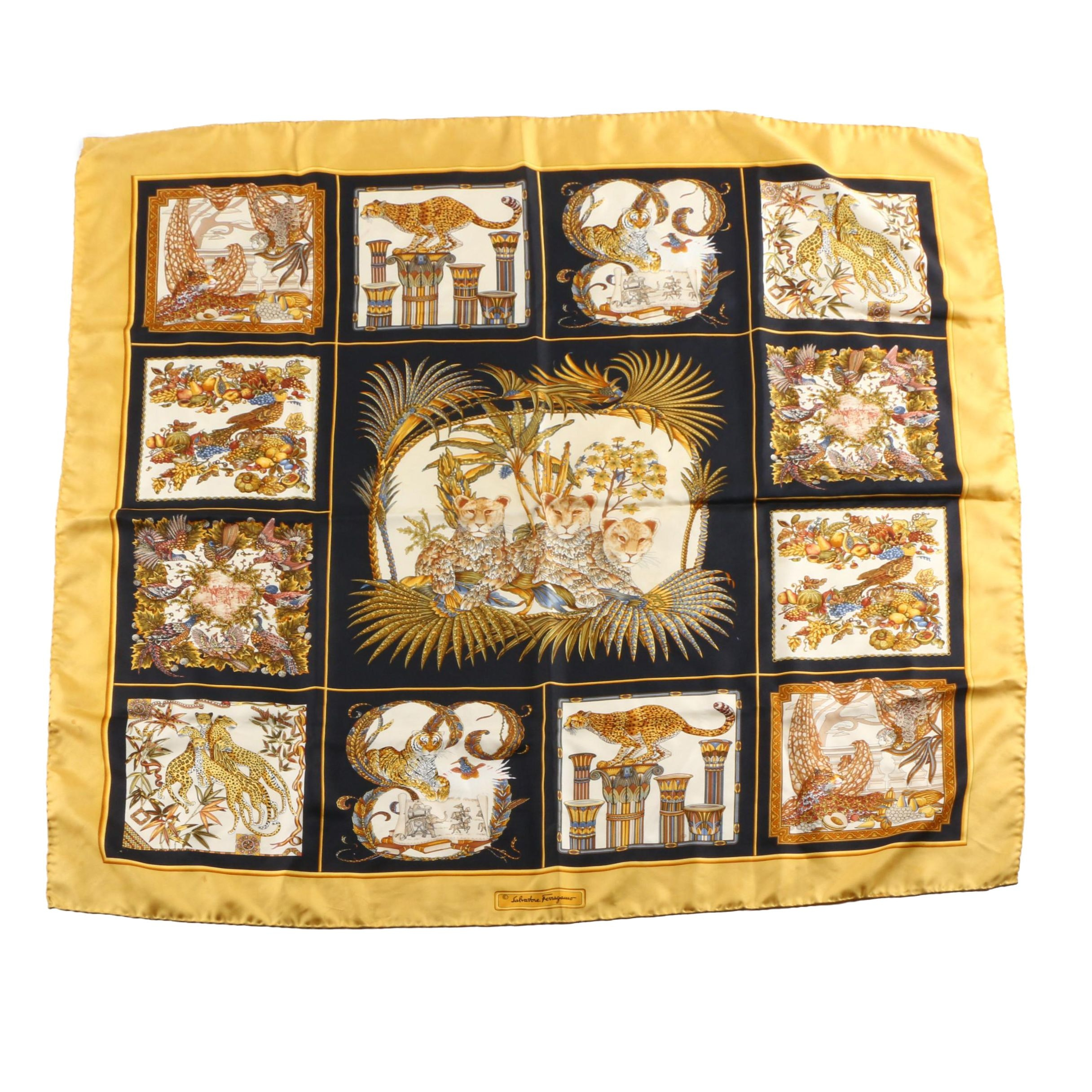 Salvatore Ferragamo Silk Animal Theme  Scarf