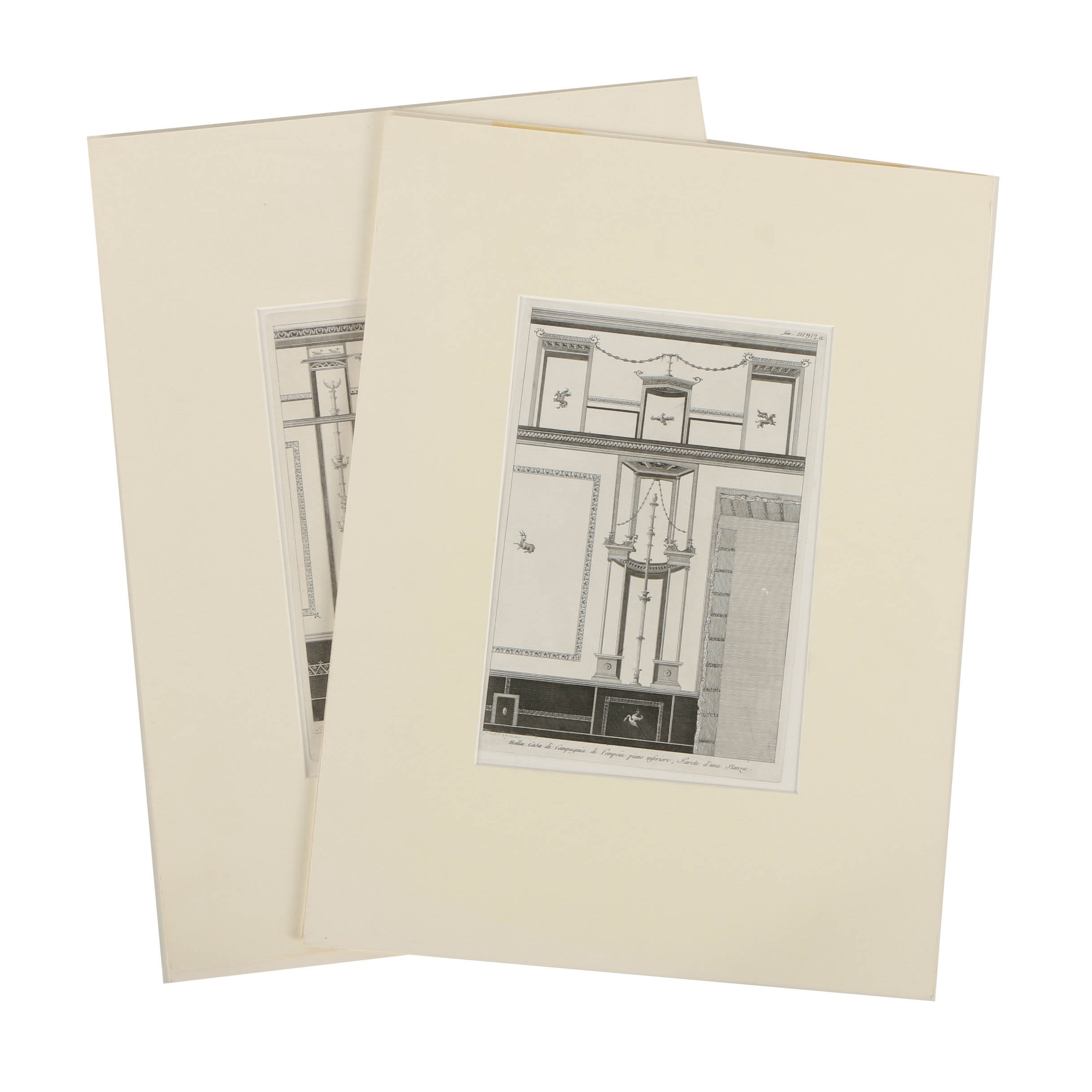 Pair of Engravings on Paper of Pompeii House Interior After Elisabeth Quevanne