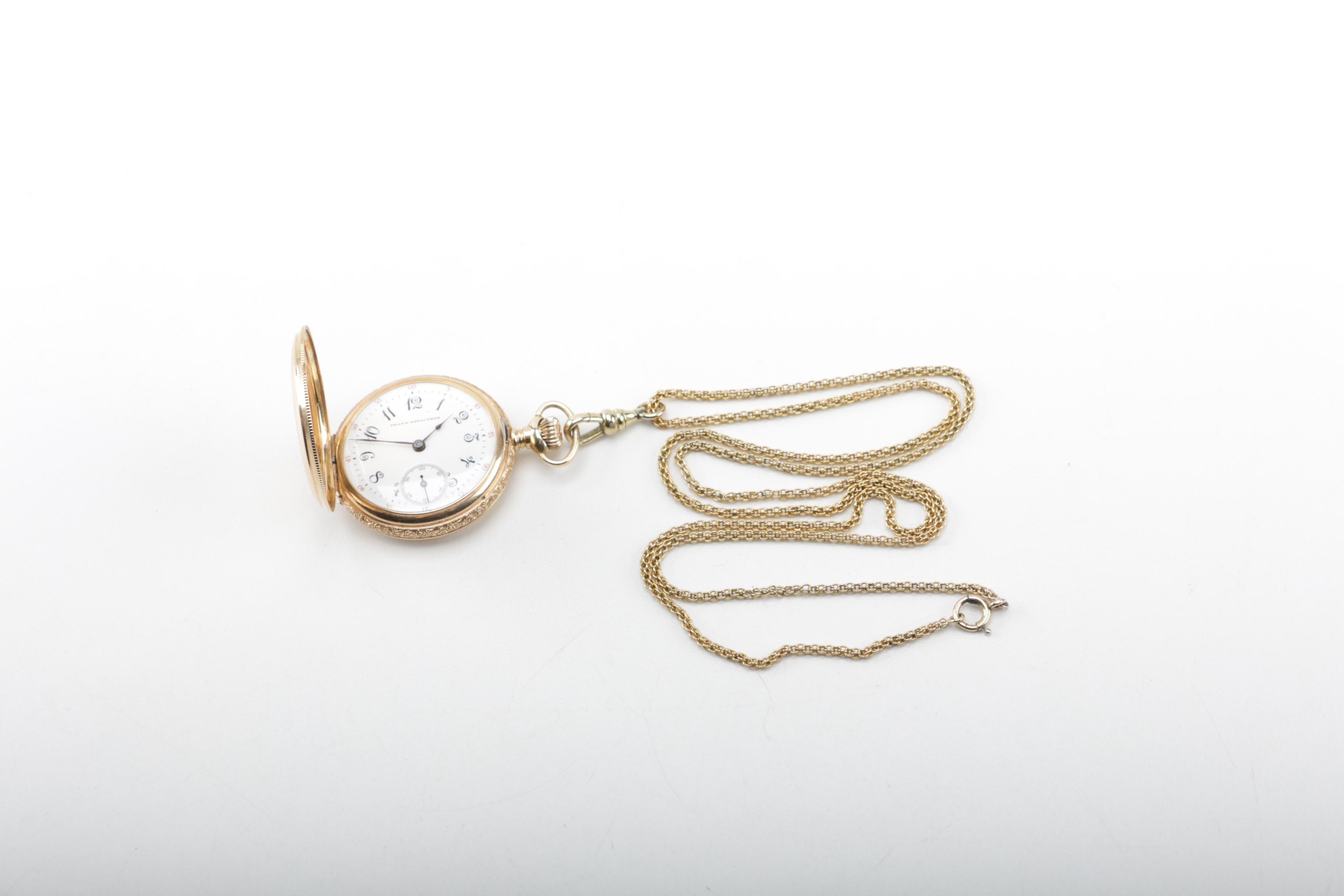 14K Yellow Gold Gruen Pocket Watch and Chain