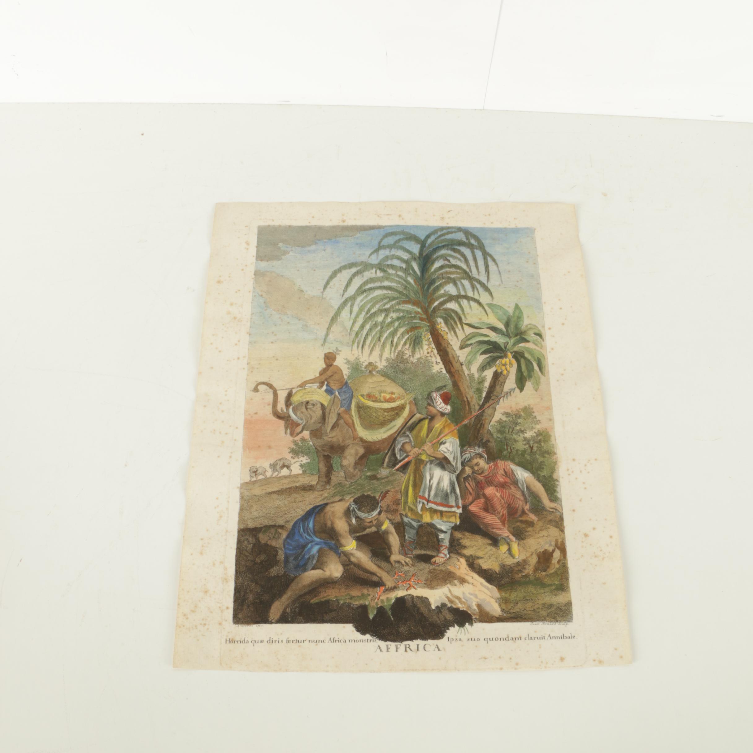 "Jean Renard Vintage Hand Colored Etching on Paper ""Affrica"""