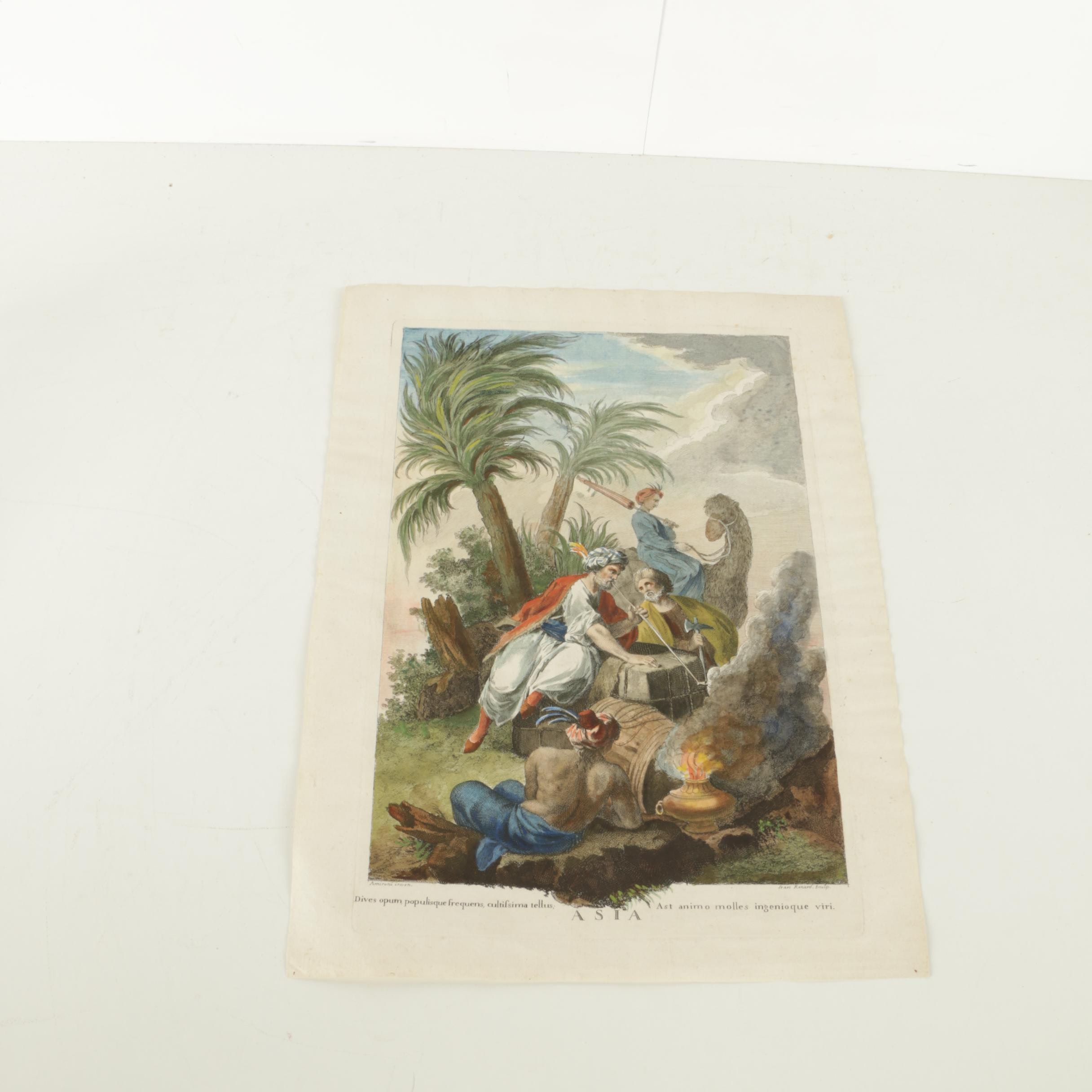 """Jean Renard Vintage Hand Colored Etching on Paper """"Asia"""""""