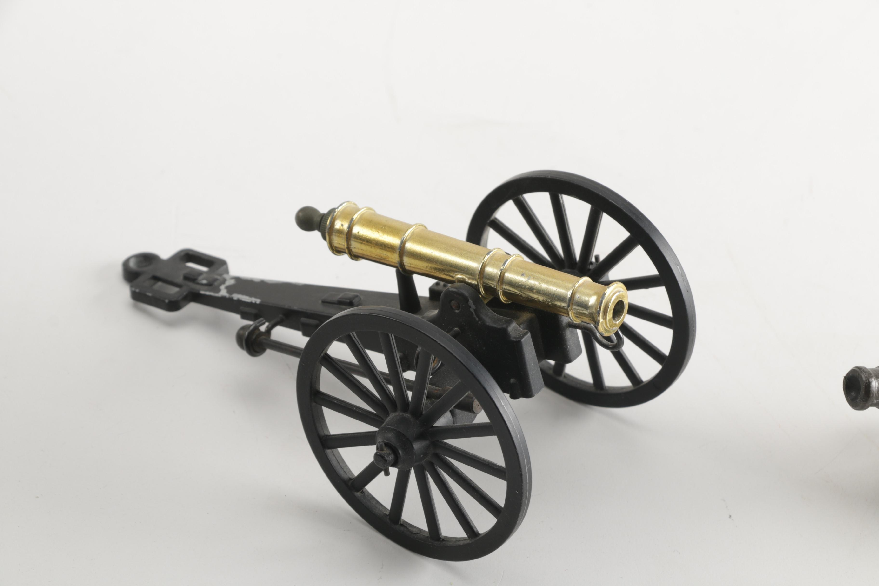 Miniature Cannon Replicas With Cannonballs Ebth
