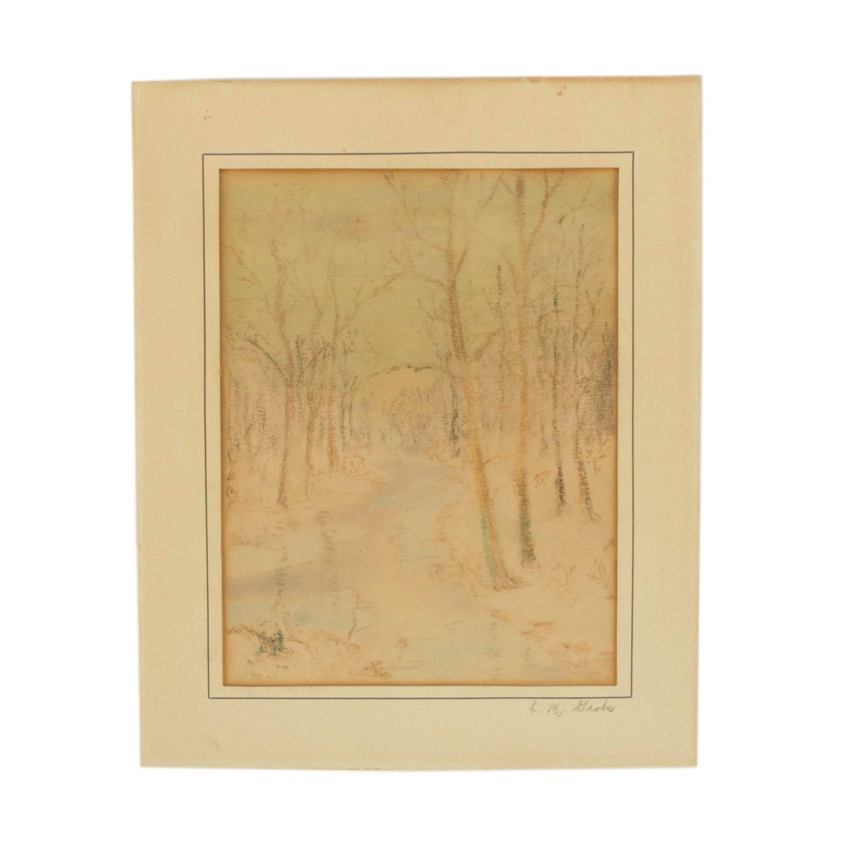 C. M. Grobe Pastel Drawing of a Landscape