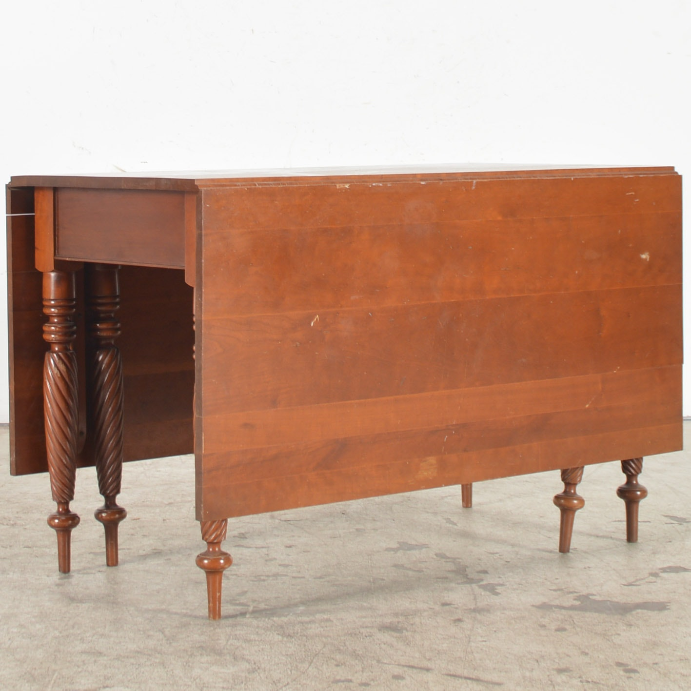 Vintage Sheraton Style Cherry Dining Table With Drop Leaves